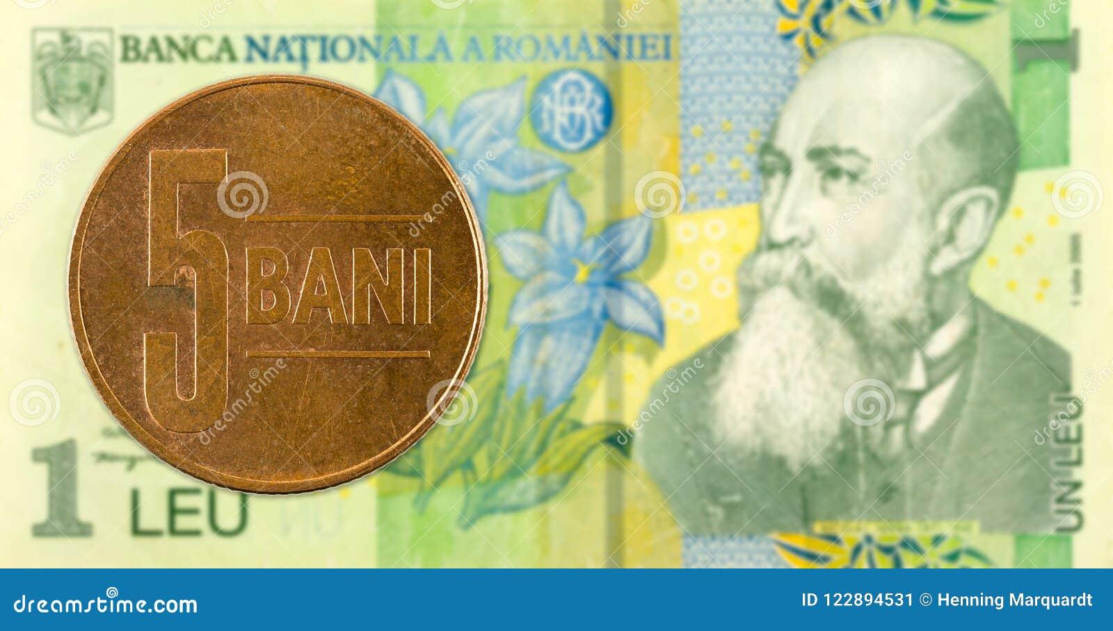 Pièce de monnaie de bani de 5 Roumains contre 1 billet de banque roumain de leu