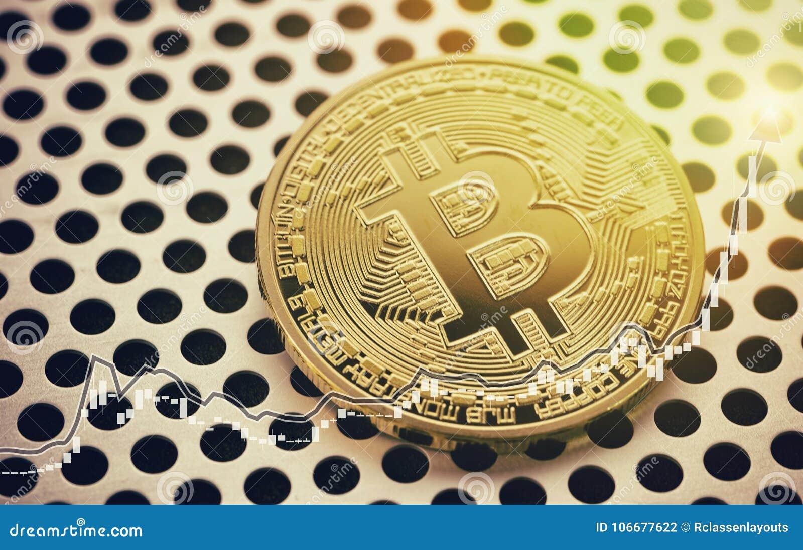 Pièce de monnaie d or de Bitcoin Graphique de marché boursier Image marchande de concept