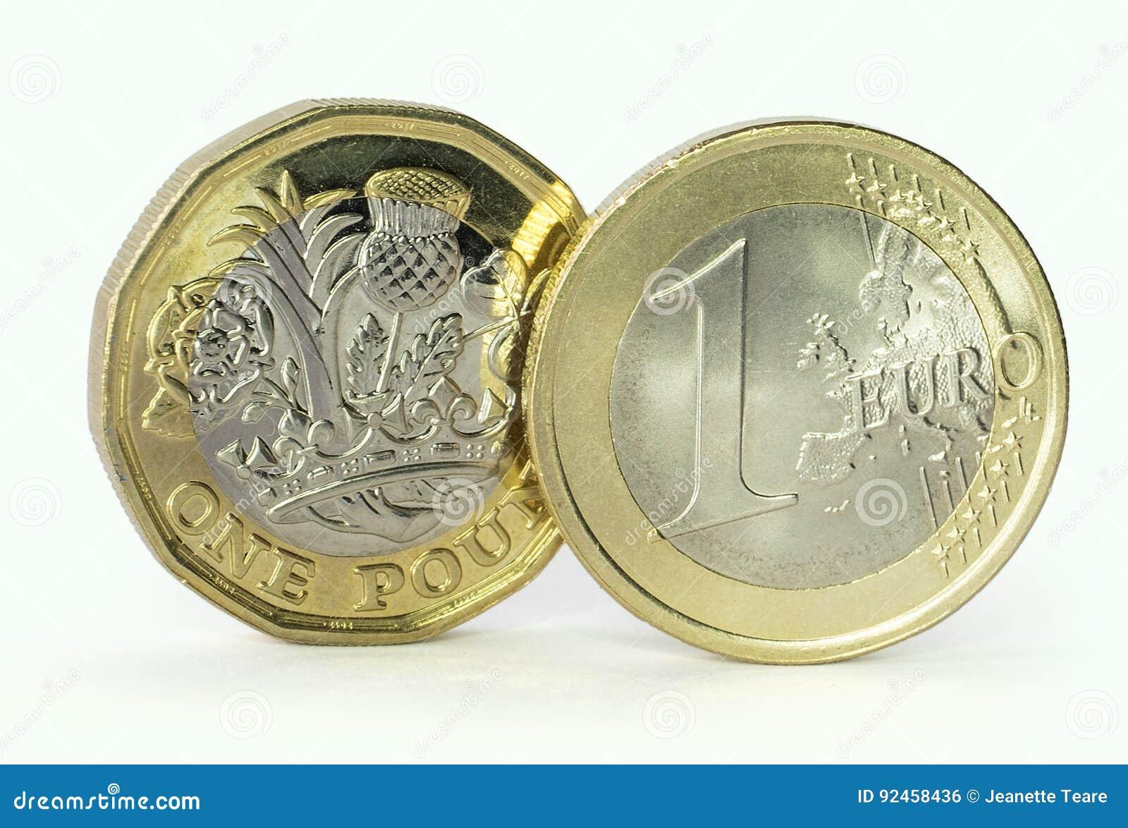 Pièce de monnaie d euro et de livre