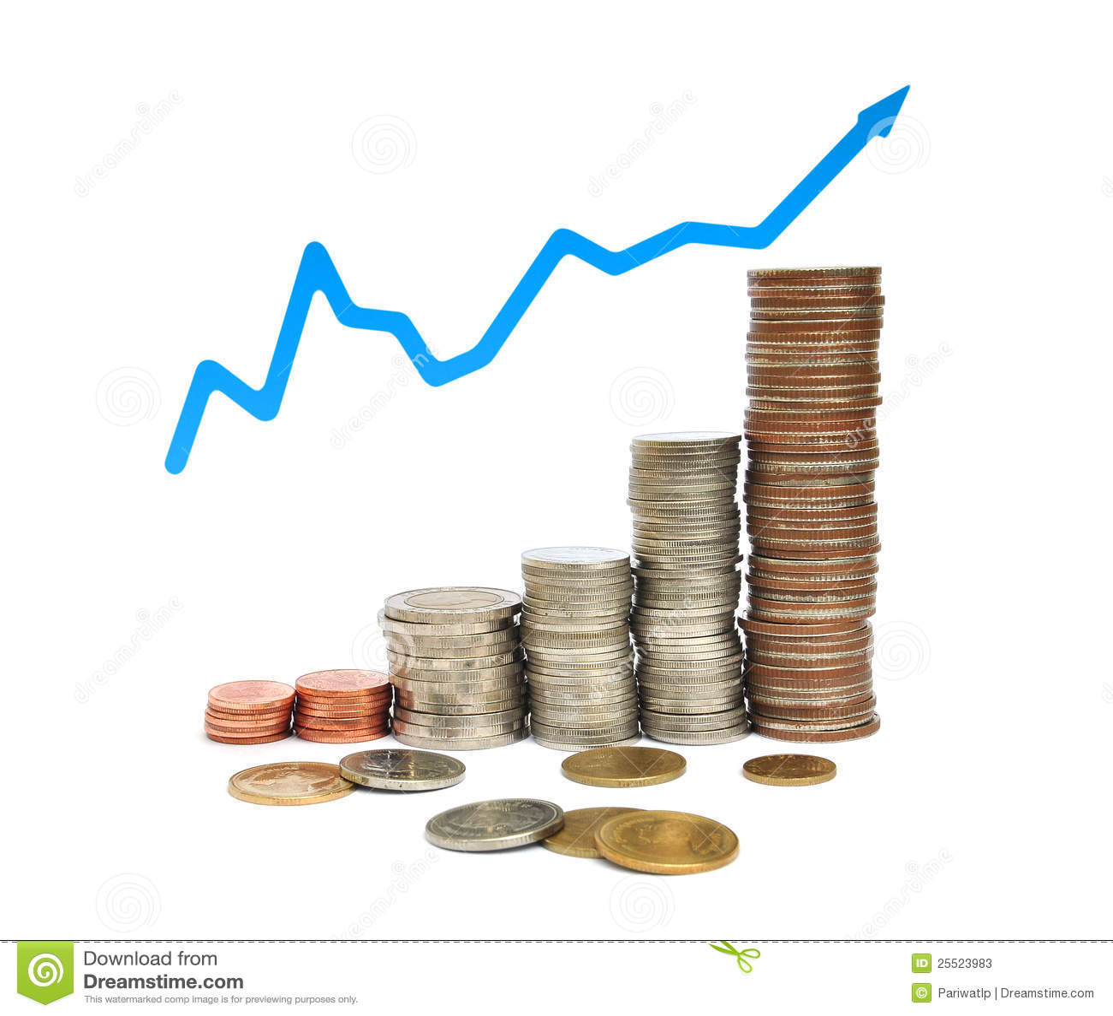 Pièce de monnaie et graphique