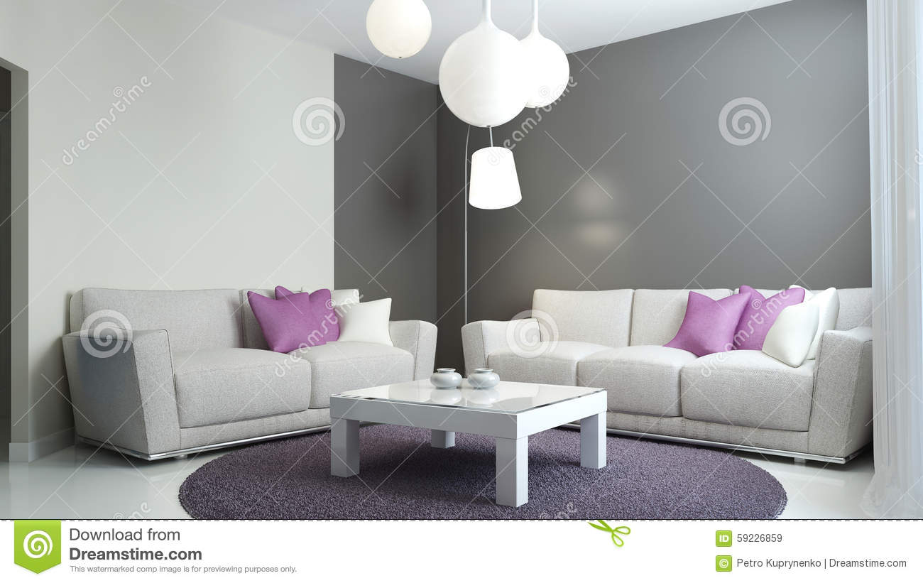 Pi ce de salon dans le style scandinave illustration stock image 59226859 for Salon gris scandinave