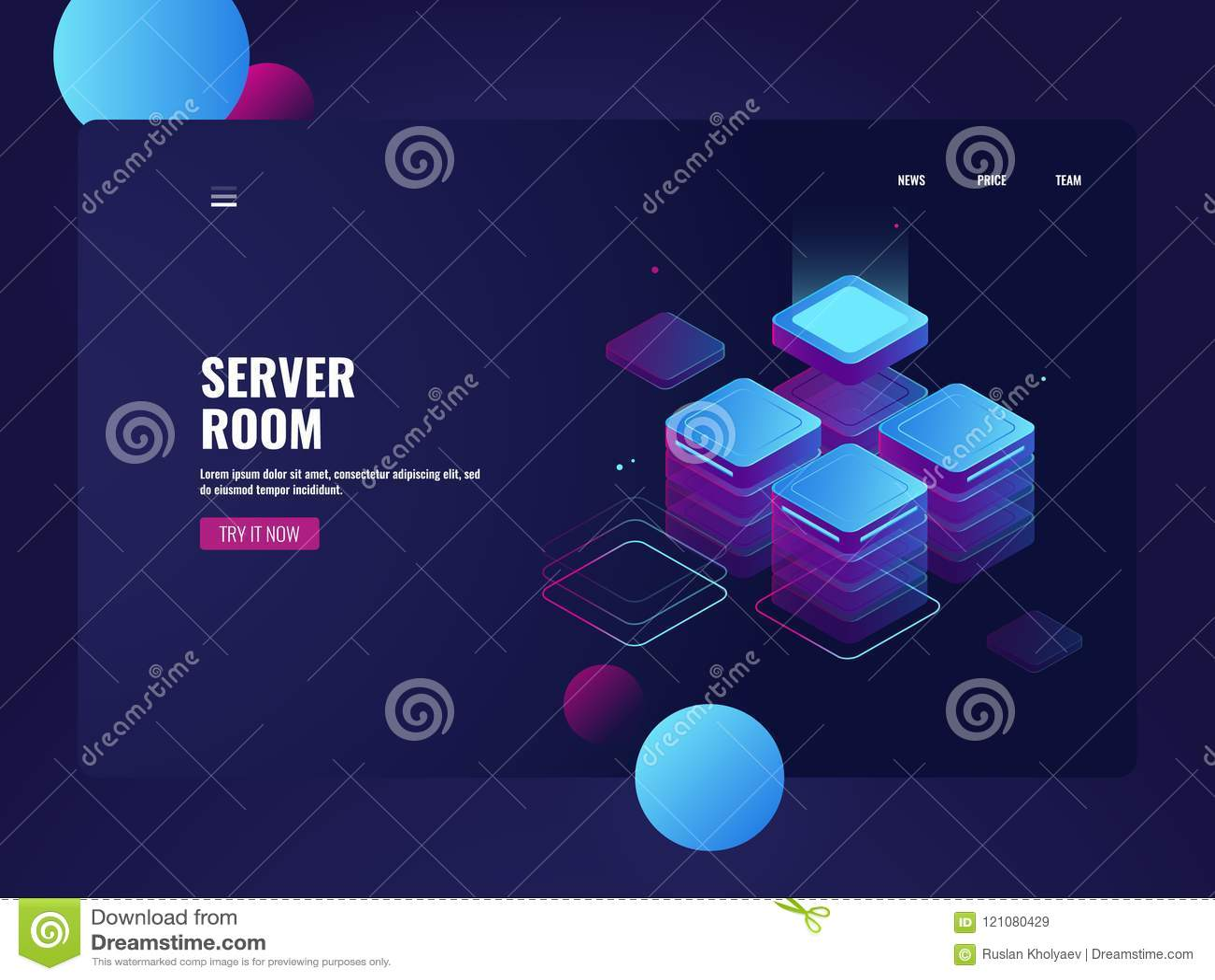 Pièce de serveur de réseau et vecteur isométrique de datacenter, stockage de données de nuage, traitant de grandes données, objet
