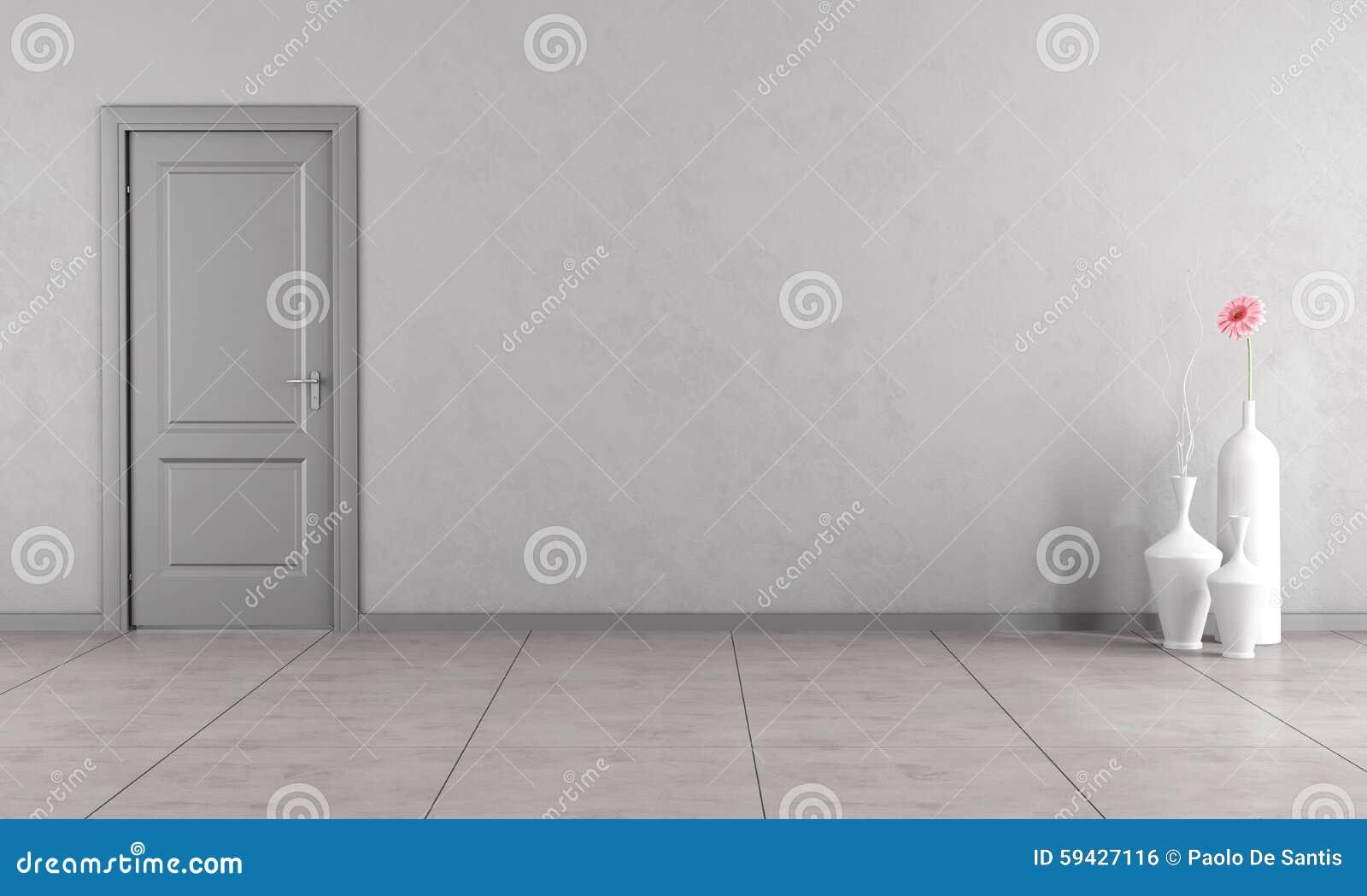 pi ce grise avec la porte illustration stock illustration. Black Bedroom Furniture Sets. Home Design Ideas