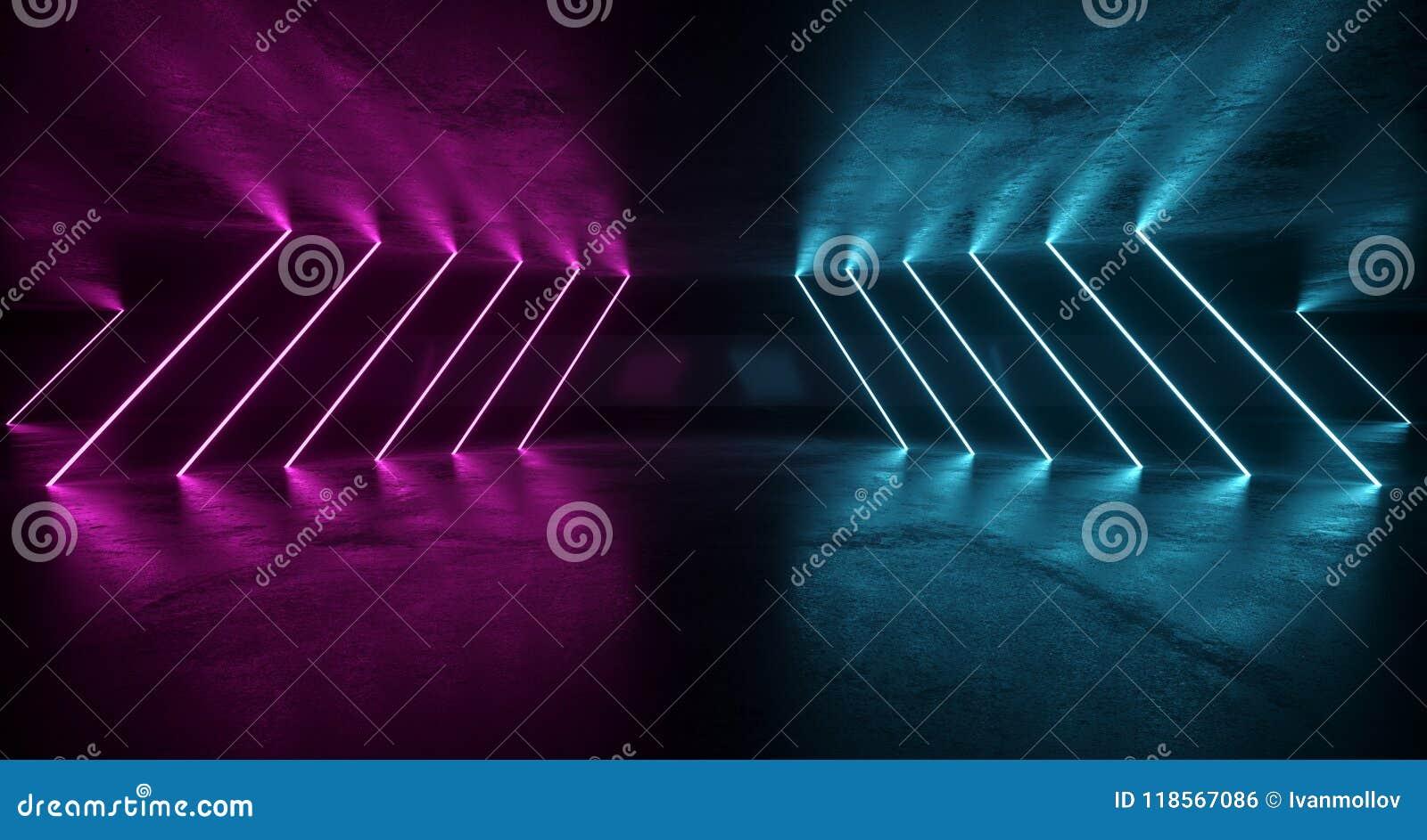 Pièce grunge futuriste de la science fiction avec les lampes au néon pourpres et bleues W