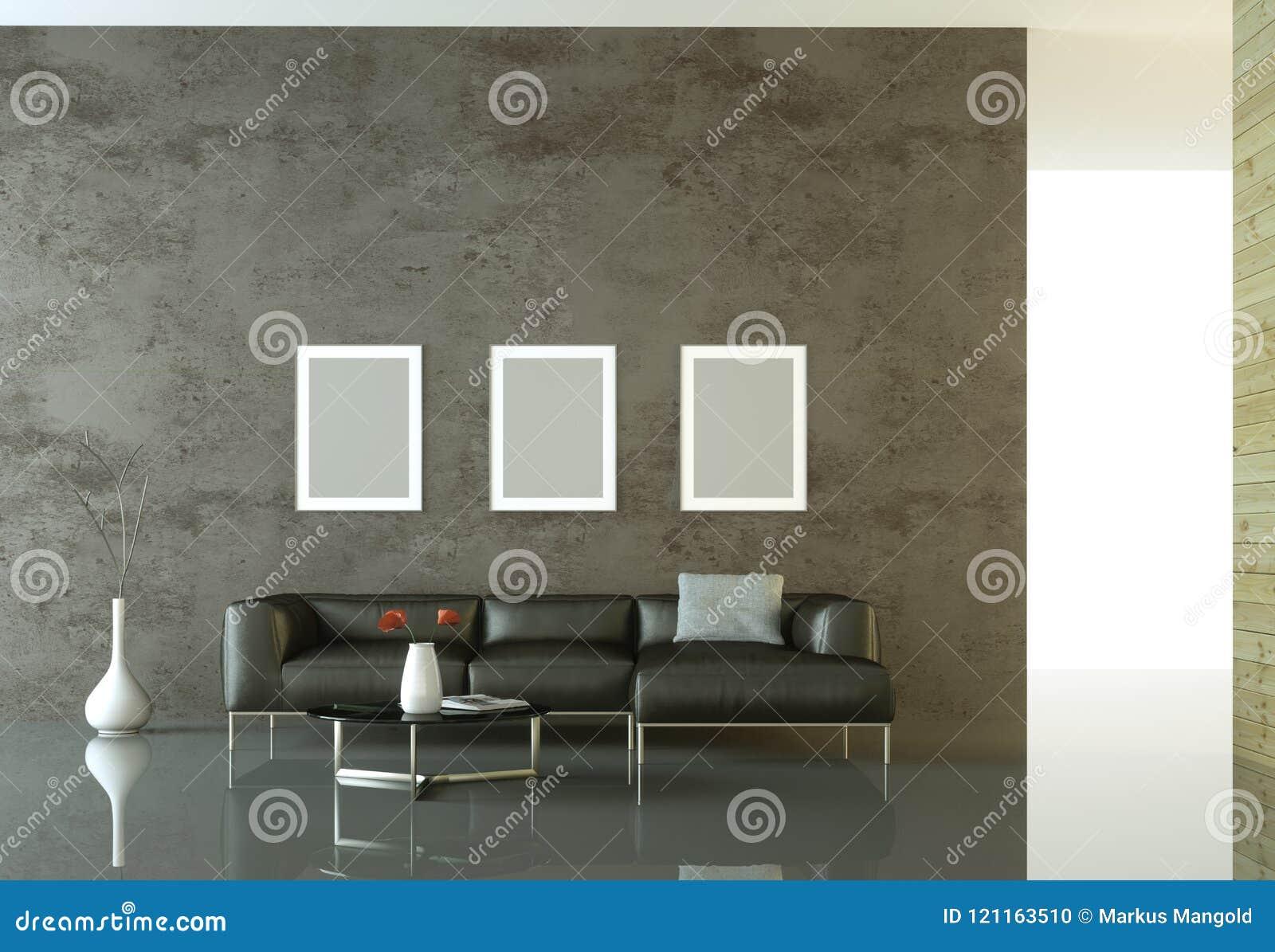 Pièce lumineuse moderne de conception intérieure avec le sofa noir