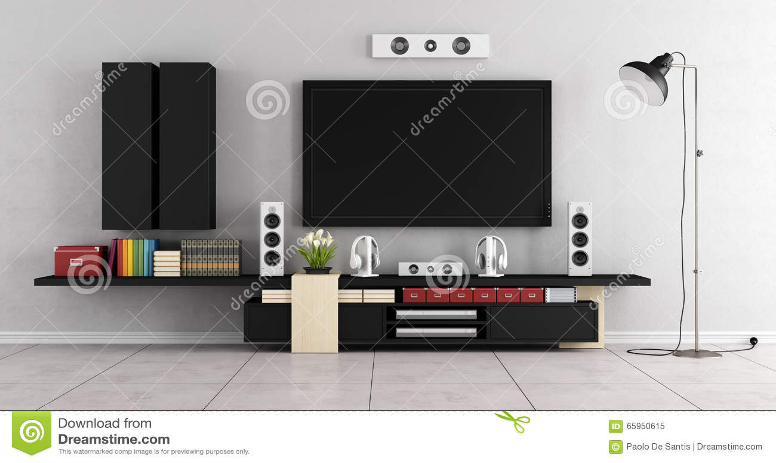 Pi Ce Moderne De Salon Avec L Unit De Mur De Tv Illustration  # Salon Tv Moderne