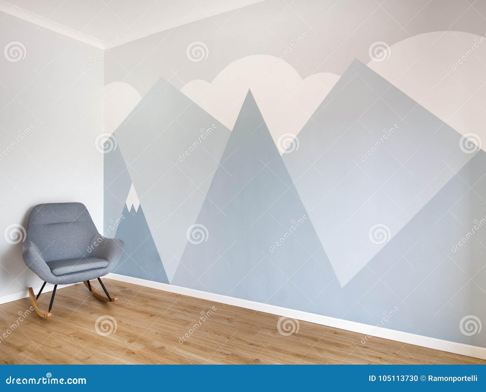 Gentil Pièce Moderne Et Lisse De Style Avec Le Plancher En Bois De Chêne Léger,  Bordage De Blanc Et Peinture Murale Minimaliste De Style Des Montagnes  Copiez ...