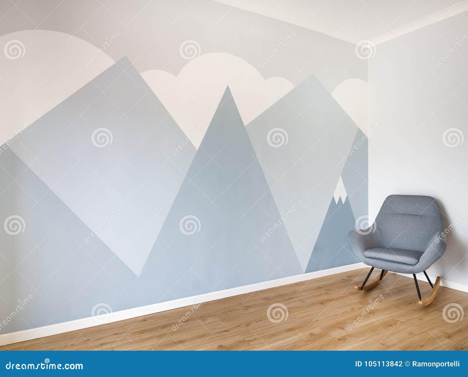 Pièce Moderne Et Lisse De Style Avec Le Plancher En Bois De Chêne Léger,  Bordage De Blanc Et Peinture Murale Minimaliste De Style Des Montagnes  Copiez ...