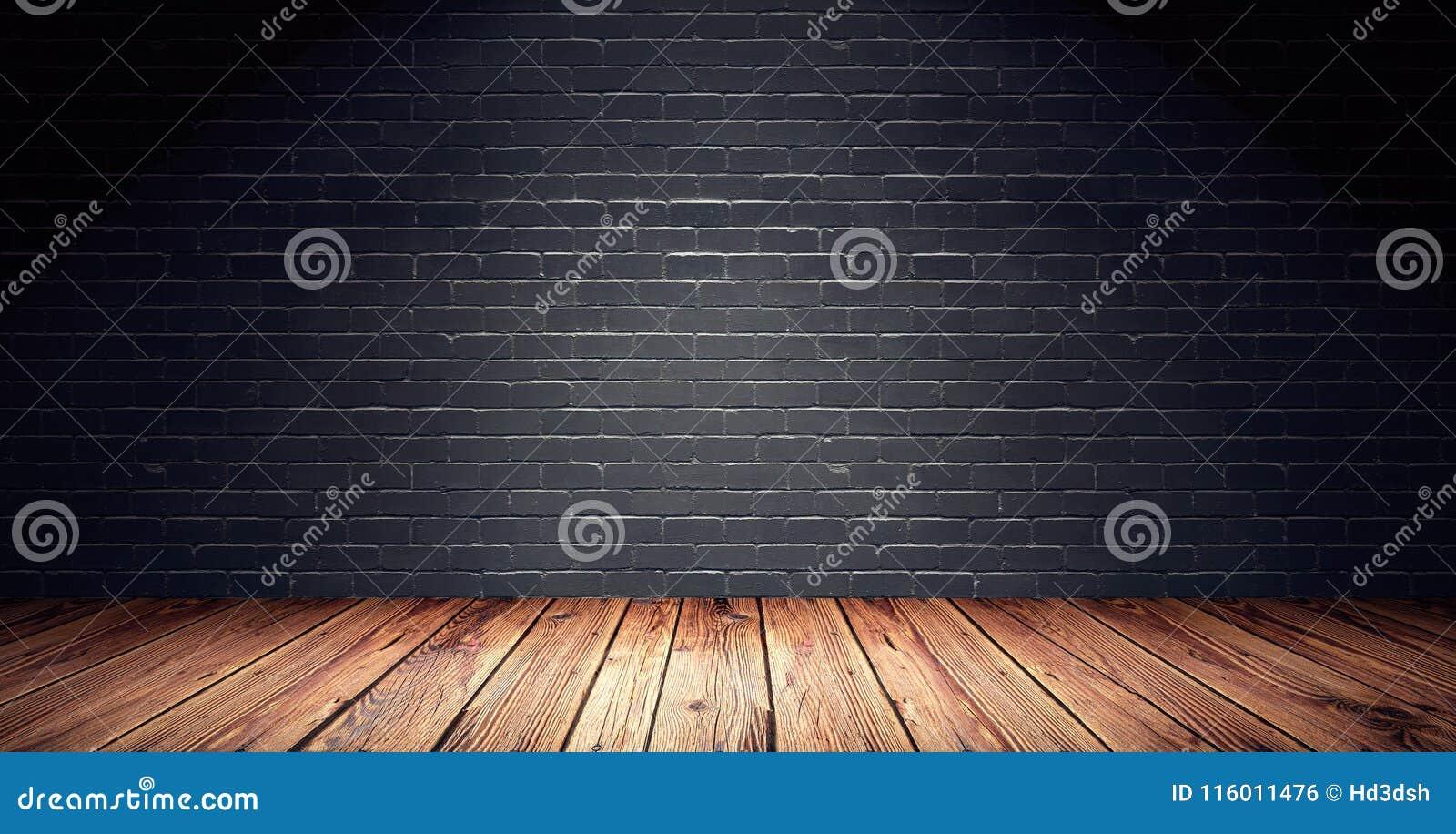 Pièce vide avec le mur de briques noir et le plancher en bois