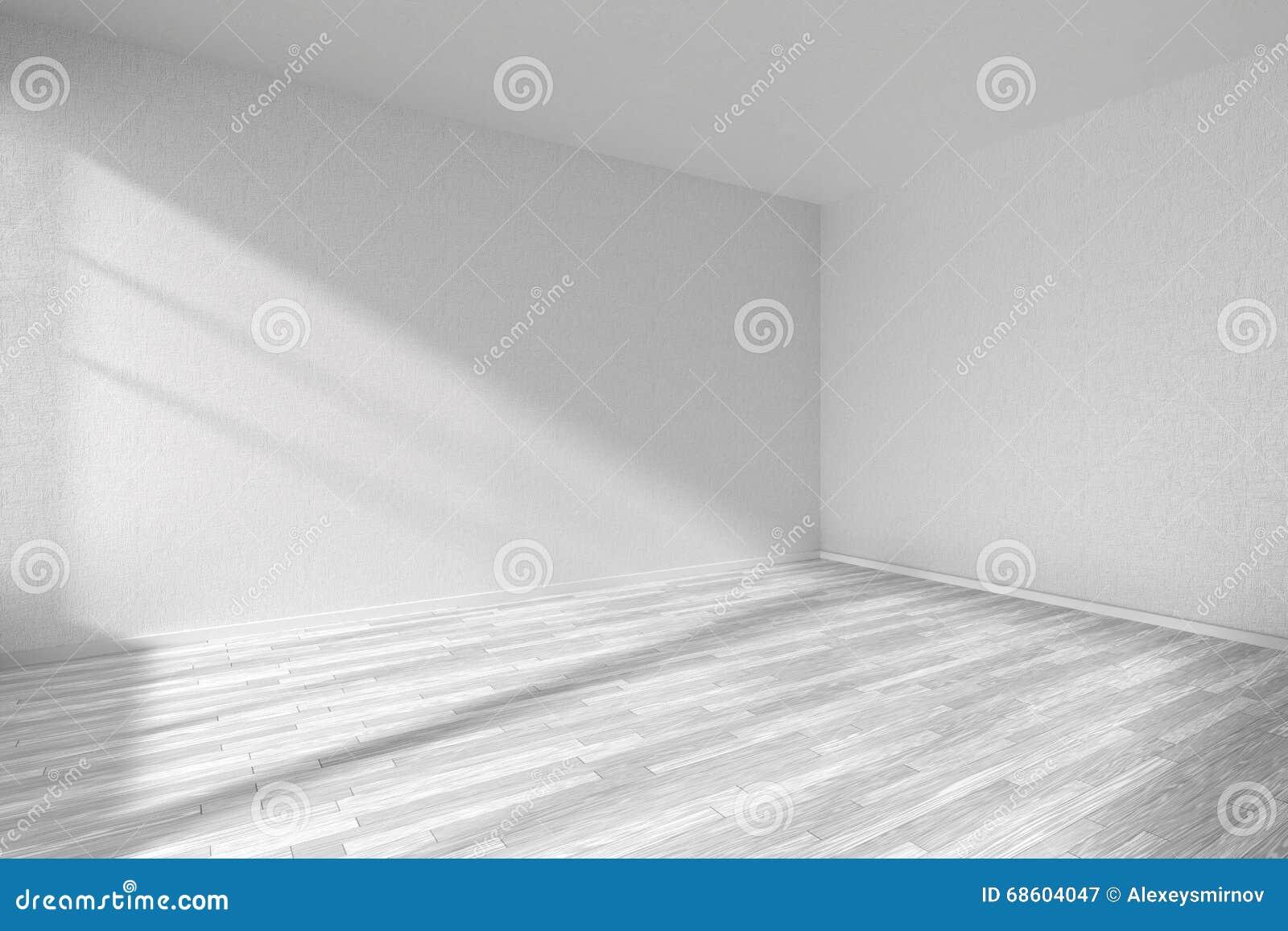 Pi Ce Vide Avec Le Plancher De Parquet Blanc Et Les Murs Blancs