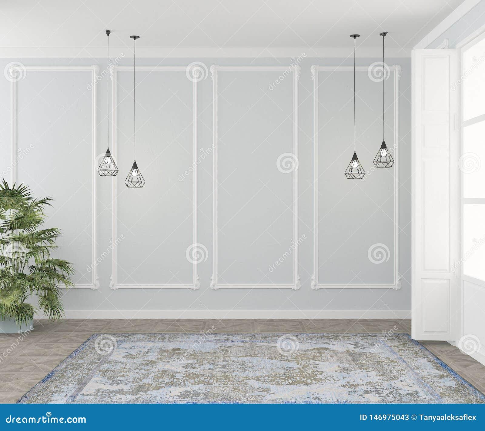Pièce vide avec le stuc, les tapis, les lampes et les usines, fausses pour un sofa ou une chaise Vue de c?t? rendu 3d