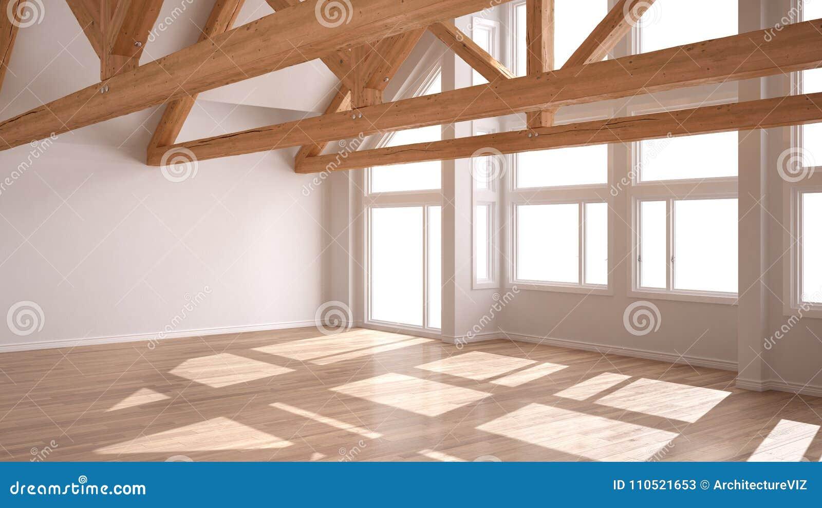 pi ce vide dans la maison de luxe d 39 eco le plancher de parquet et le toit en bois tr. Black Bedroom Furniture Sets. Home Design Ideas