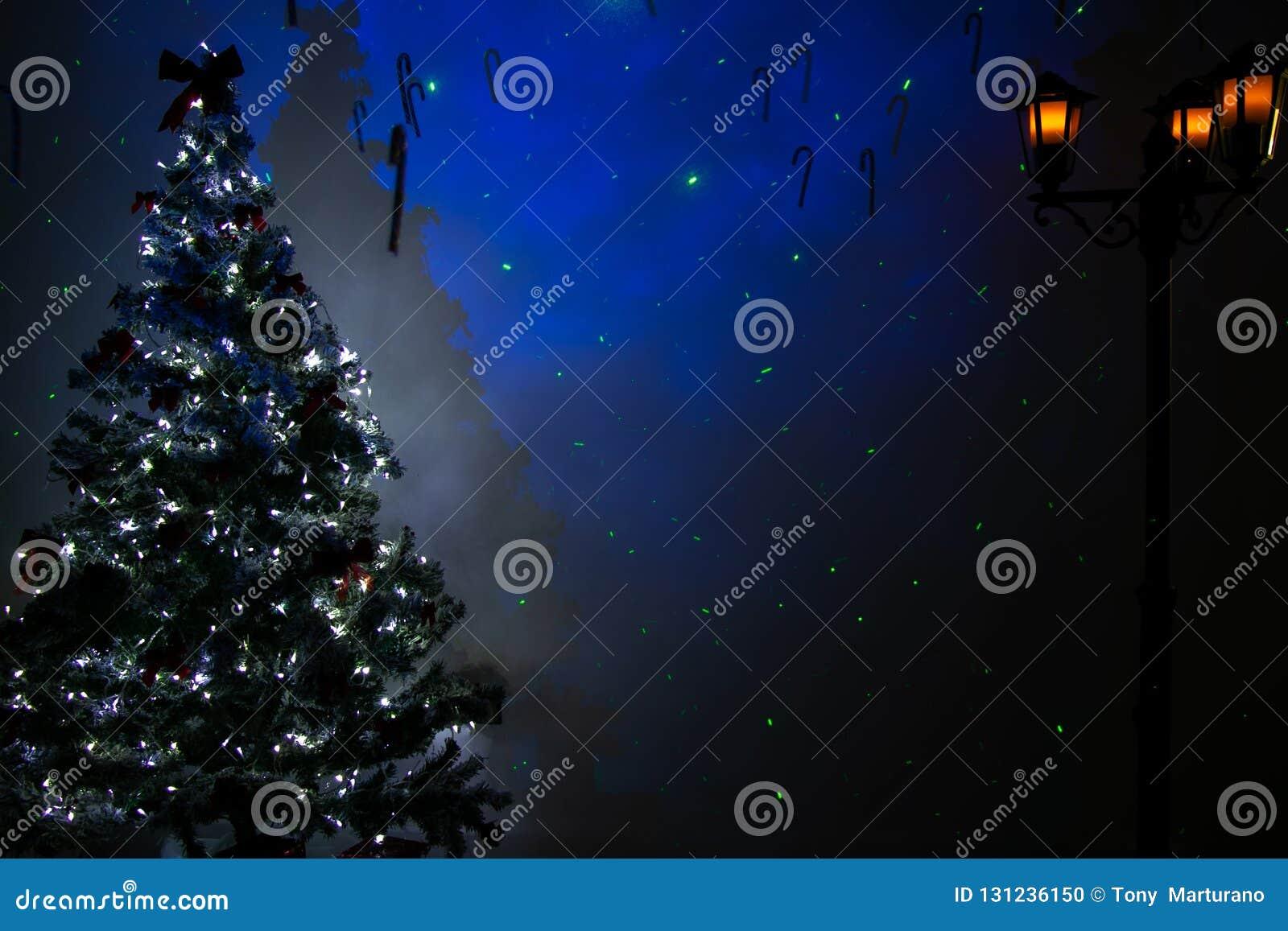 Pièce vide de Noël avec l arbre de fête, la lanterne de rue de cru de lumières et les étoiles bleues