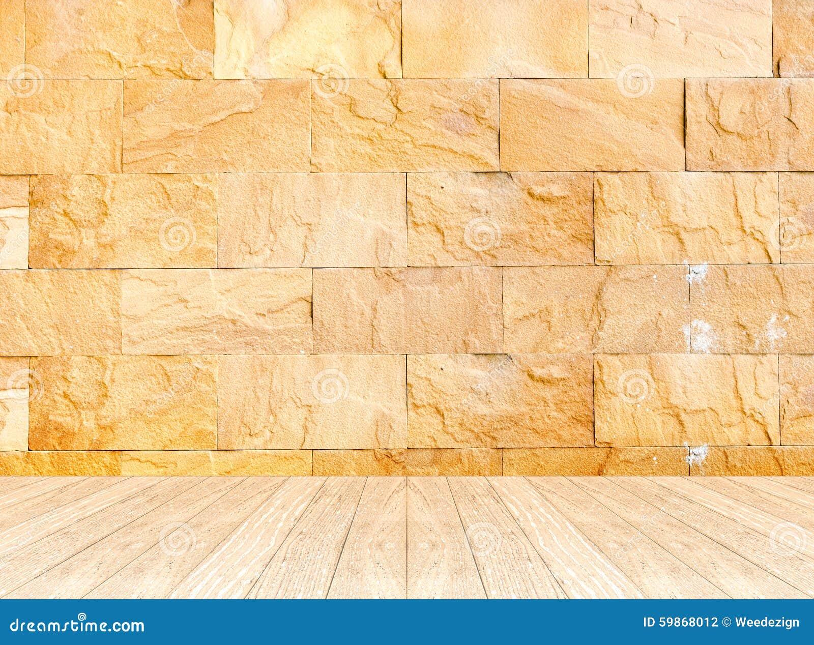 Pièce Vide De Perspective Avec Le Mur En Pierre De Sable Et