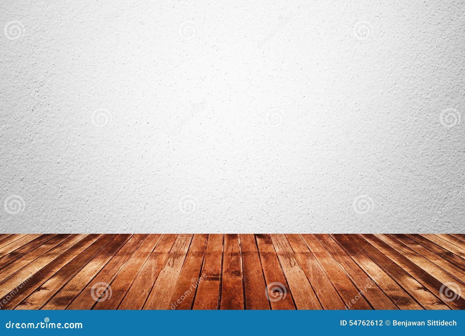 Pièce vide du plancher blanc de mur et en bois