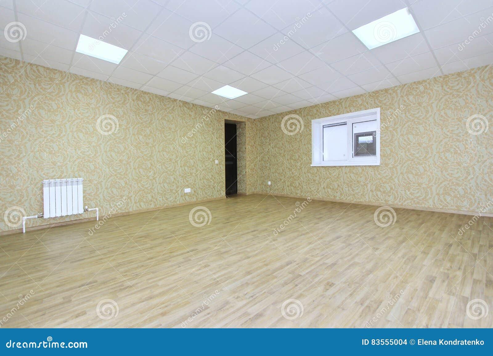 Pièce vide intérieure de lumière de bureau avec le papier peint