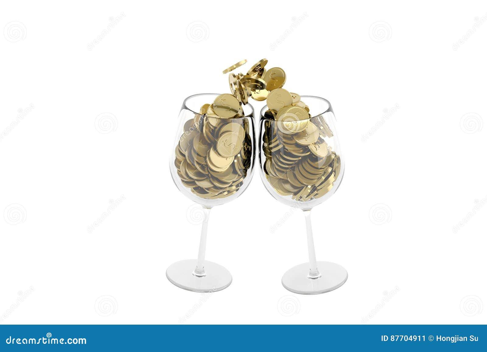Pièces d or dans les acclamations de tasse, illustration 3D