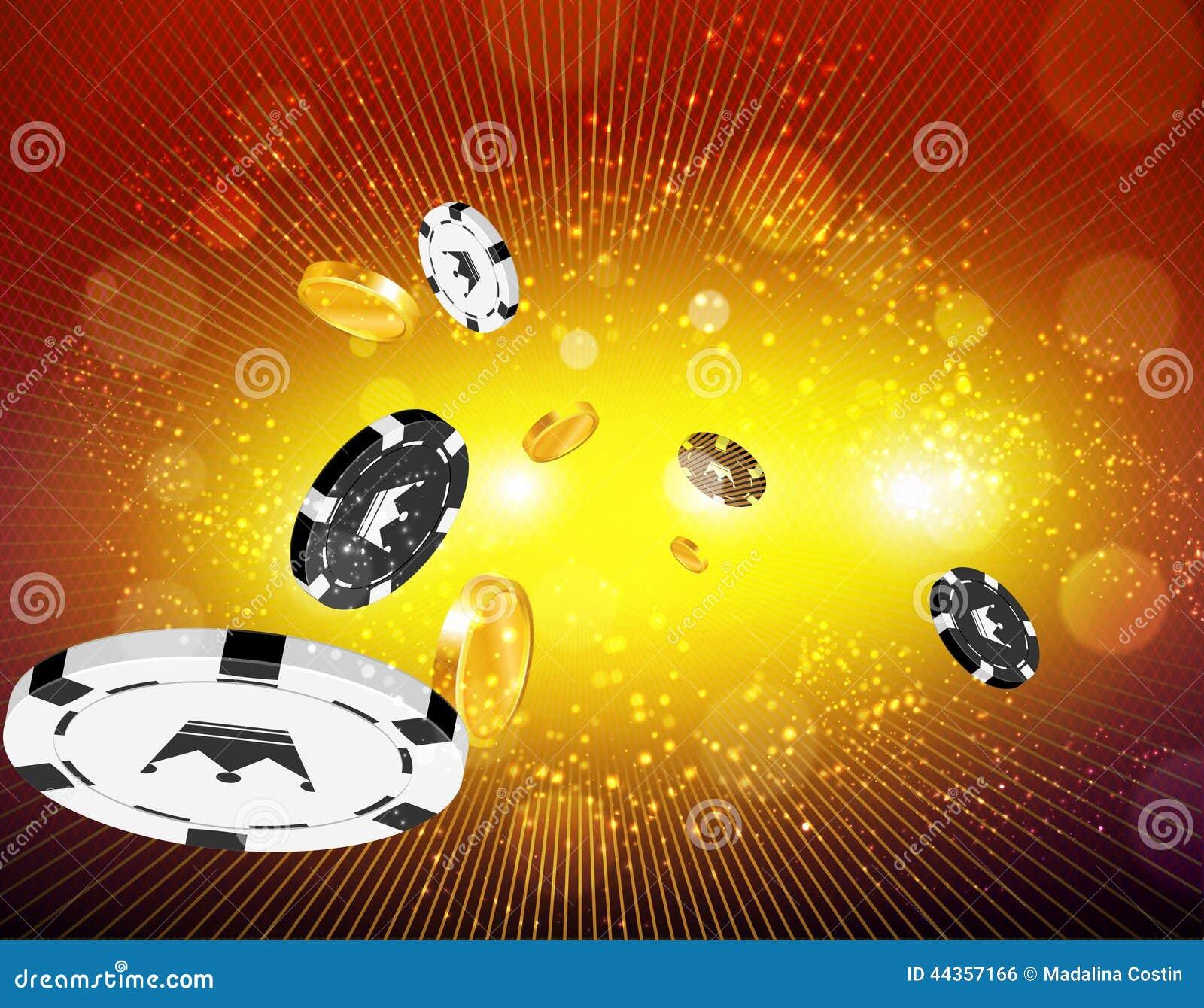 Pièces de monnaie d or et pièces de monnaie de casino volant