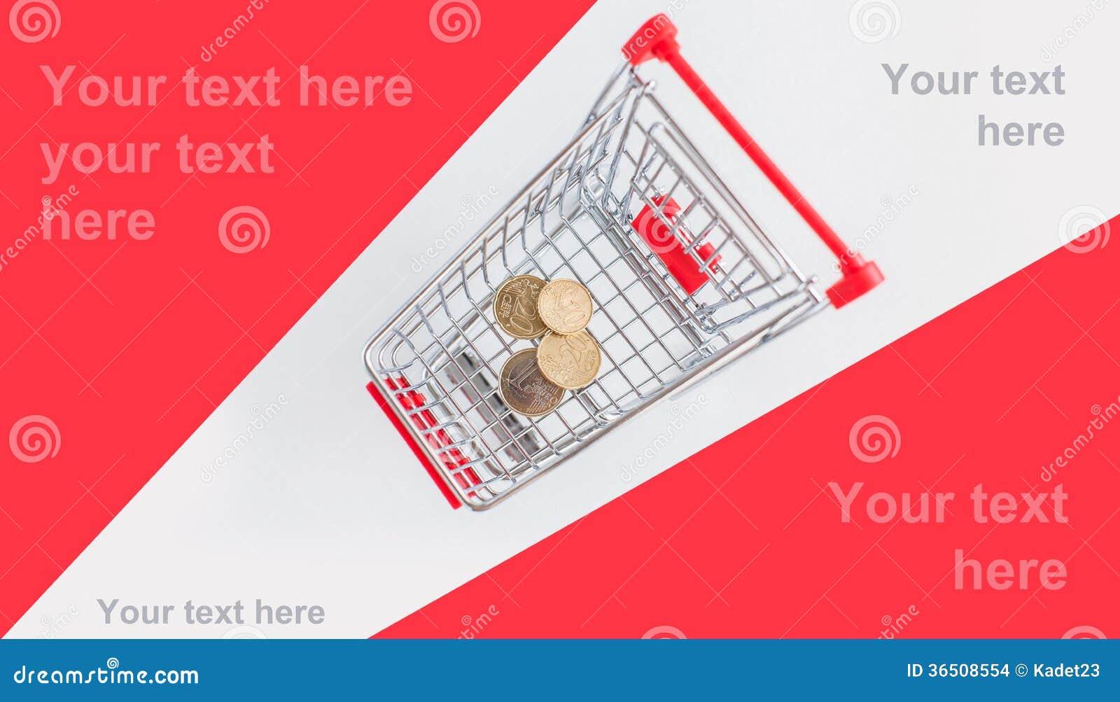 Pièces de monnaie dans le caddie