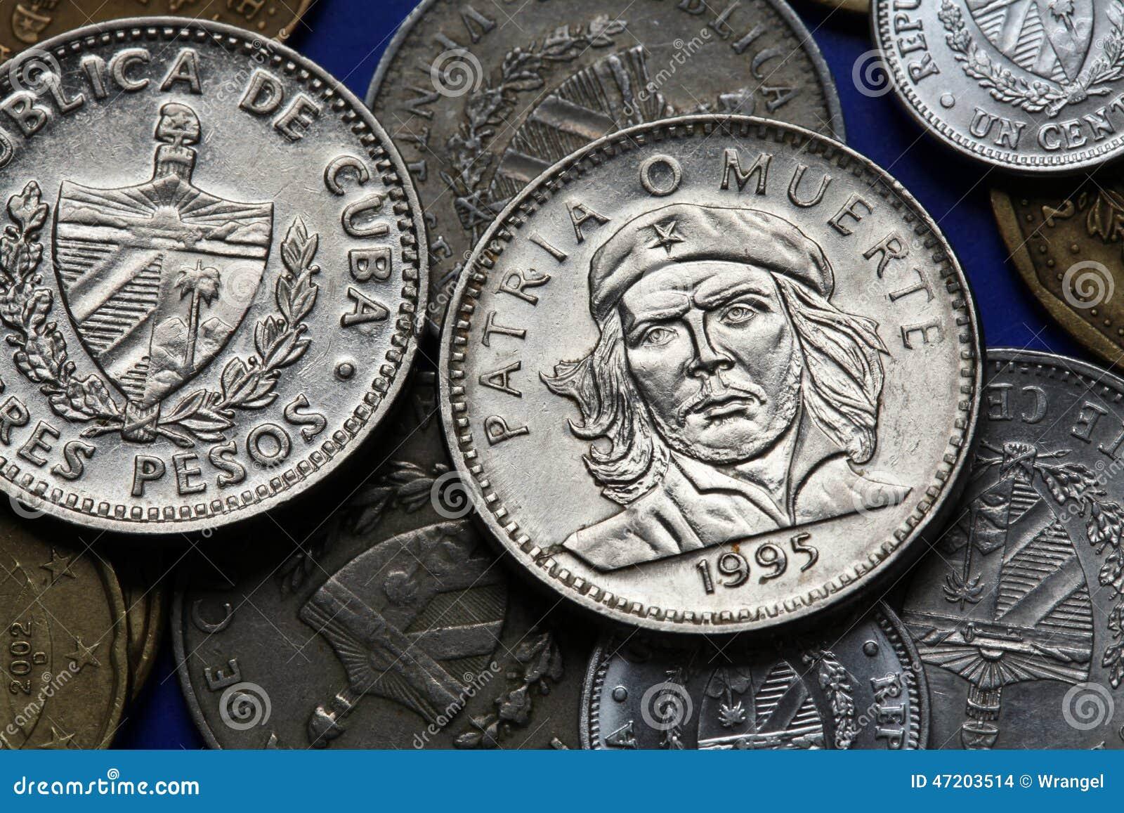 pi232ces de monnaie du cuba ernesto che guevara photo stock