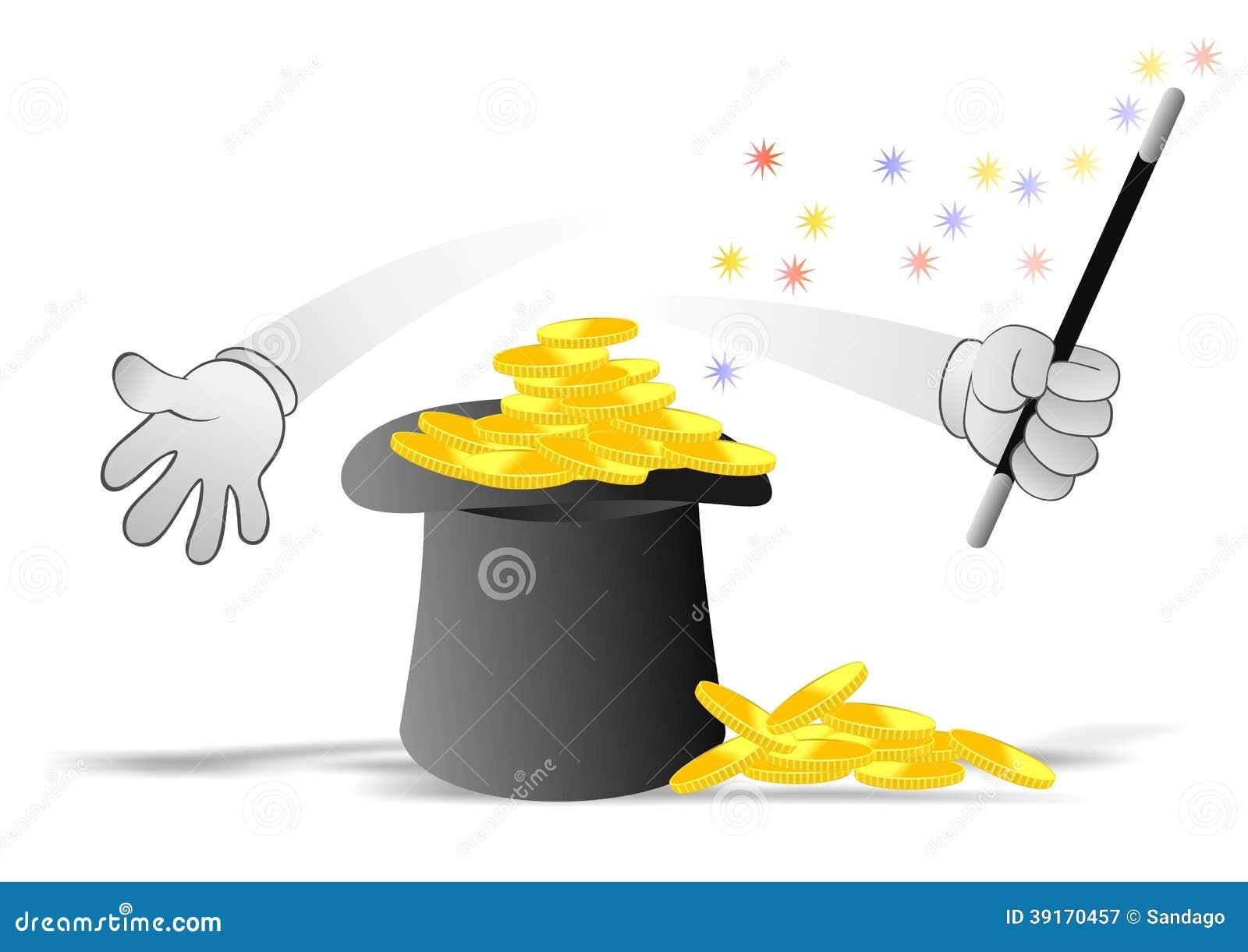 Pièces de monnaie et chapeau de magicien