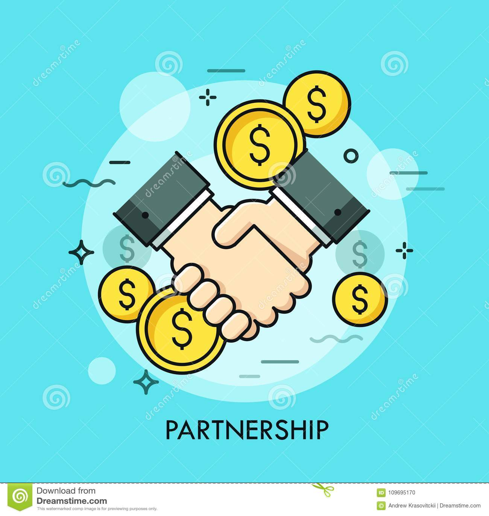 Pièces de monnaie de poignée de main et de dollar Coopération d association d affaires, efficace et salutaire, affaire faisant, c