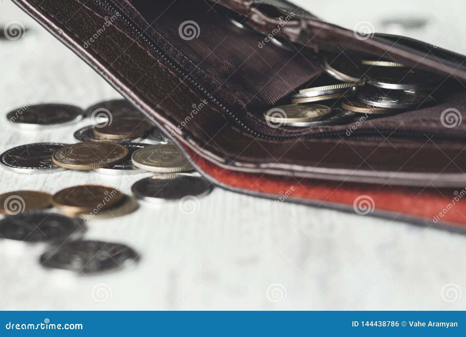 Pièces de monnaie sur le portefeuille