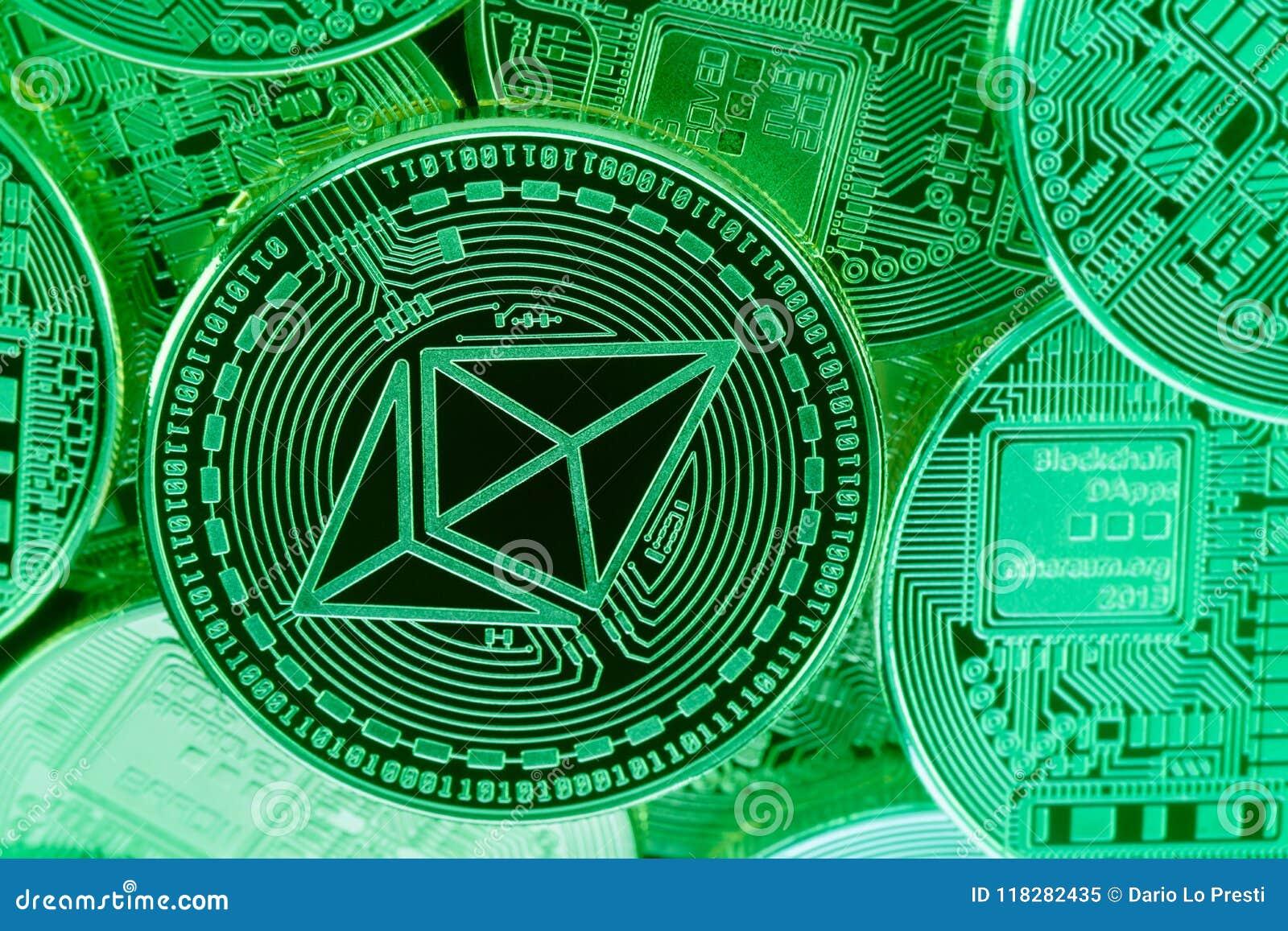 Pièces de monnaie vertes d Ethereum