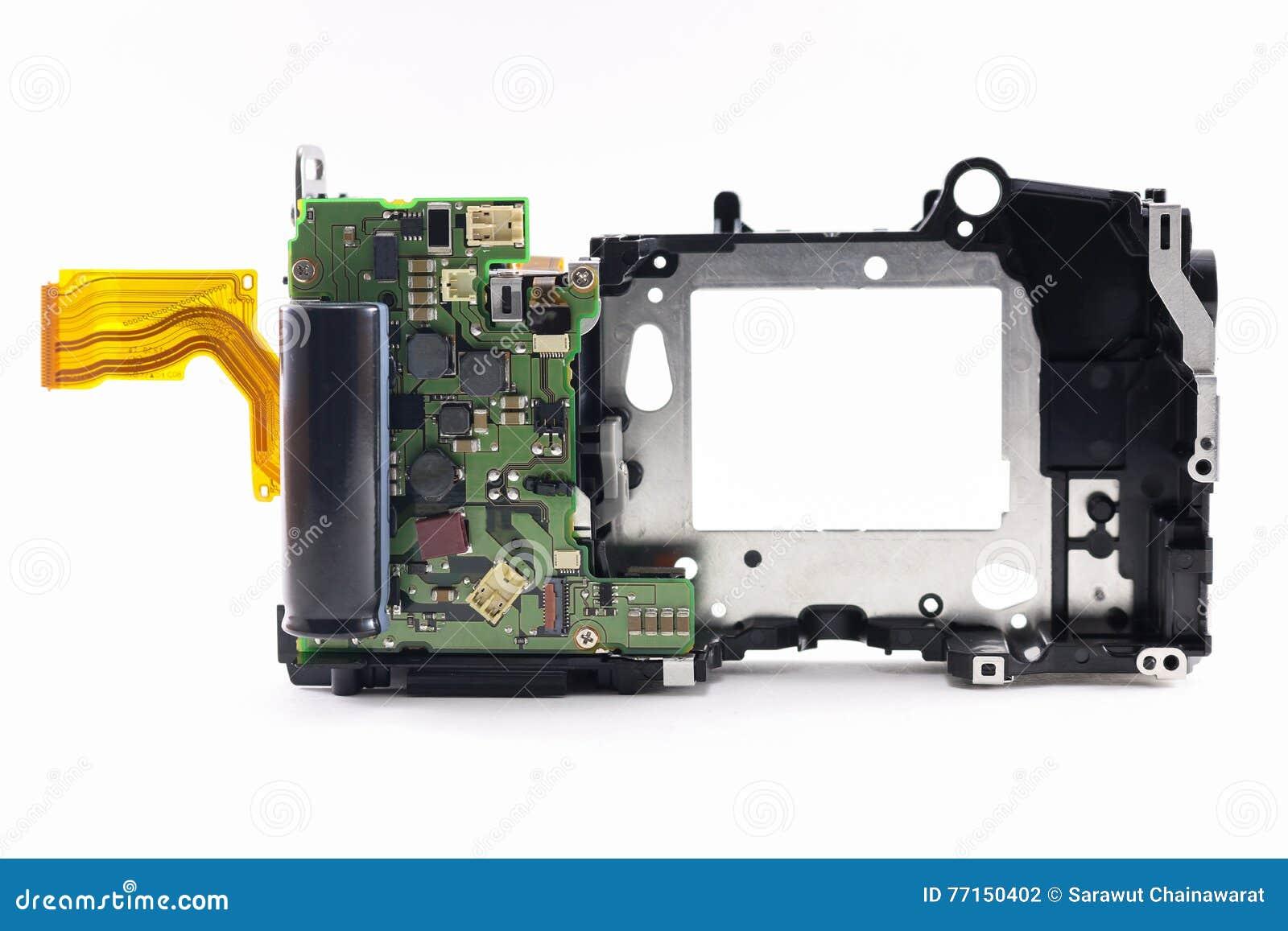 Pièces de réparation à l intérieur d appareil-photo de dslr sur le fond blanc d isolement
