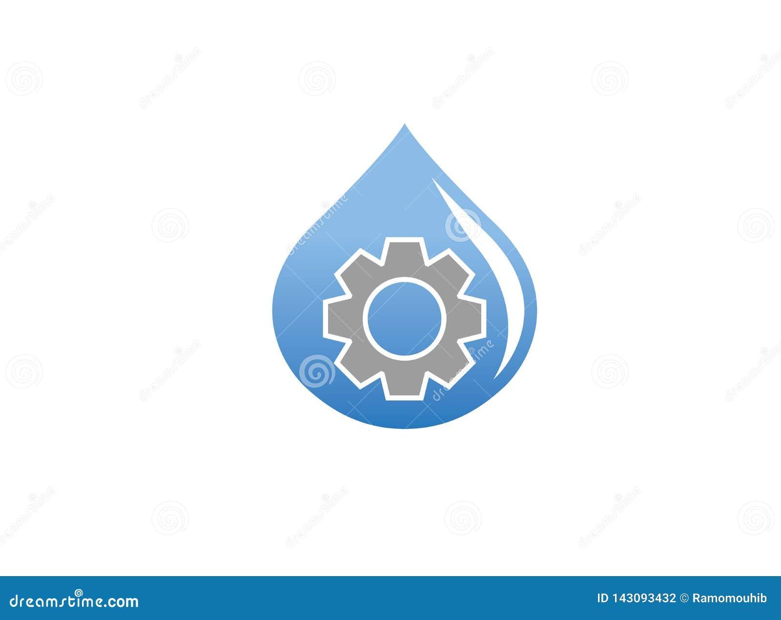 Piñón/engranaje dentro de un descenso del agua para el diseño del logotipo