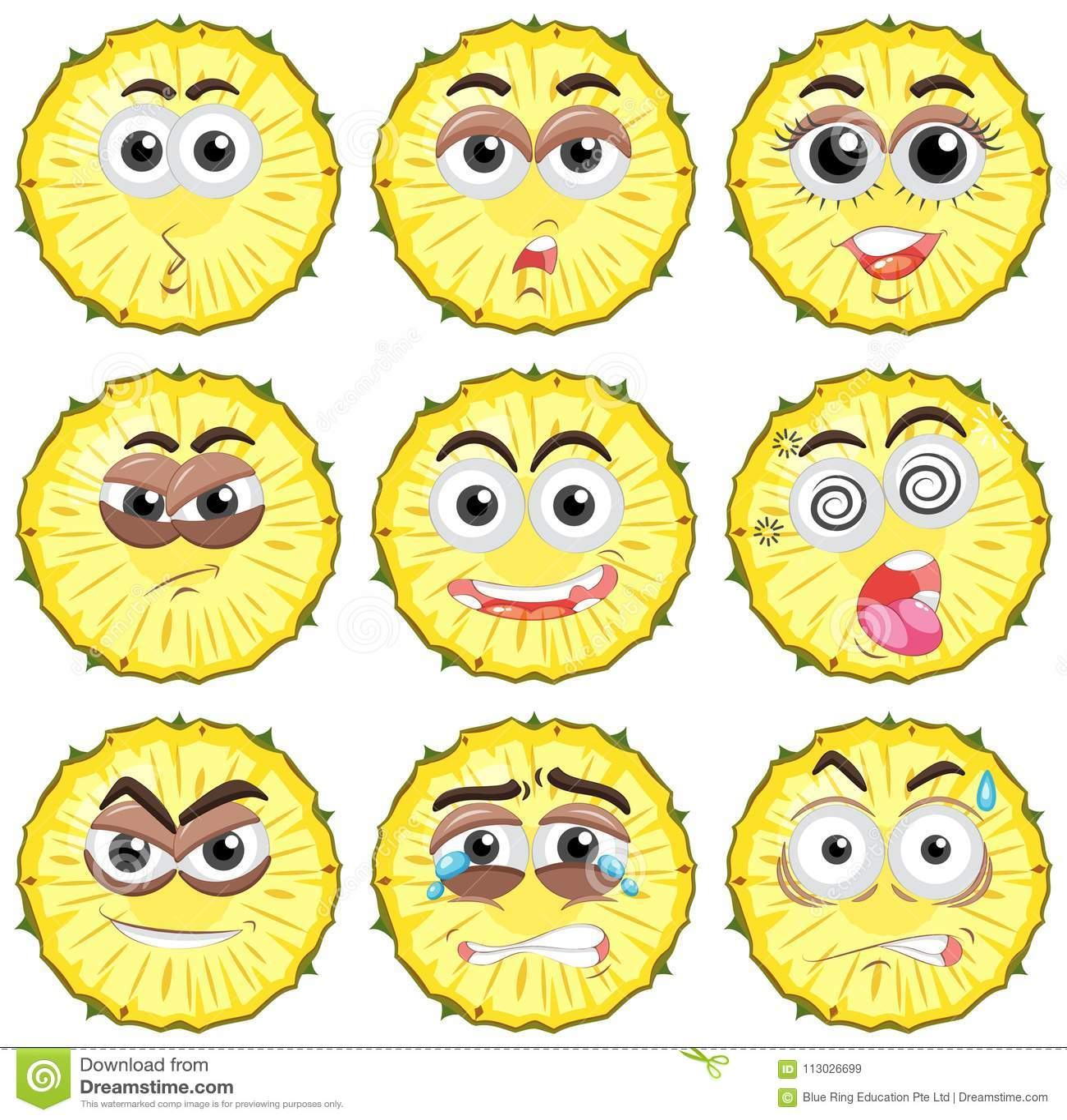 Piña con diversas expresiones faciales