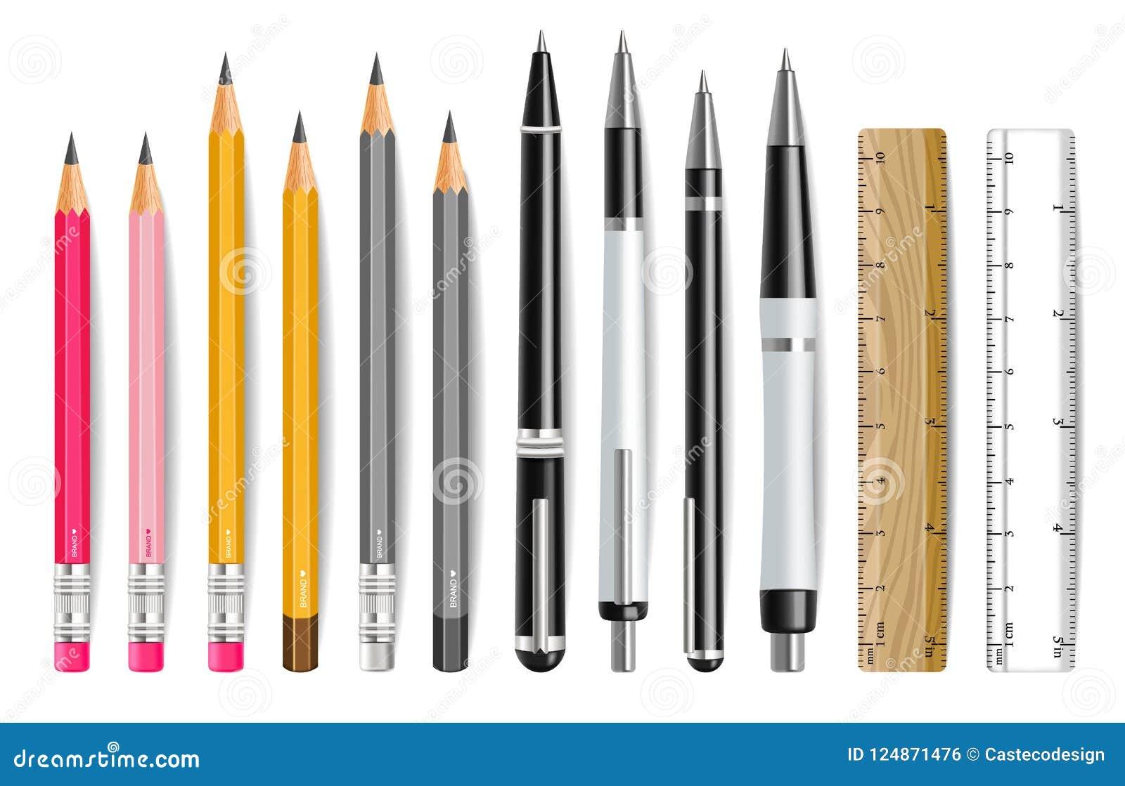 Pióra, ołówka i władcy Wektorowy realistyczny set, r
