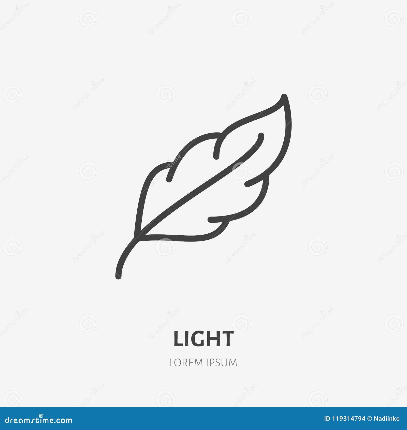 Piórkowa mieszkanie linii ikona Miękka część, waga lekkiej cechy znak Cienki liniowy logo
