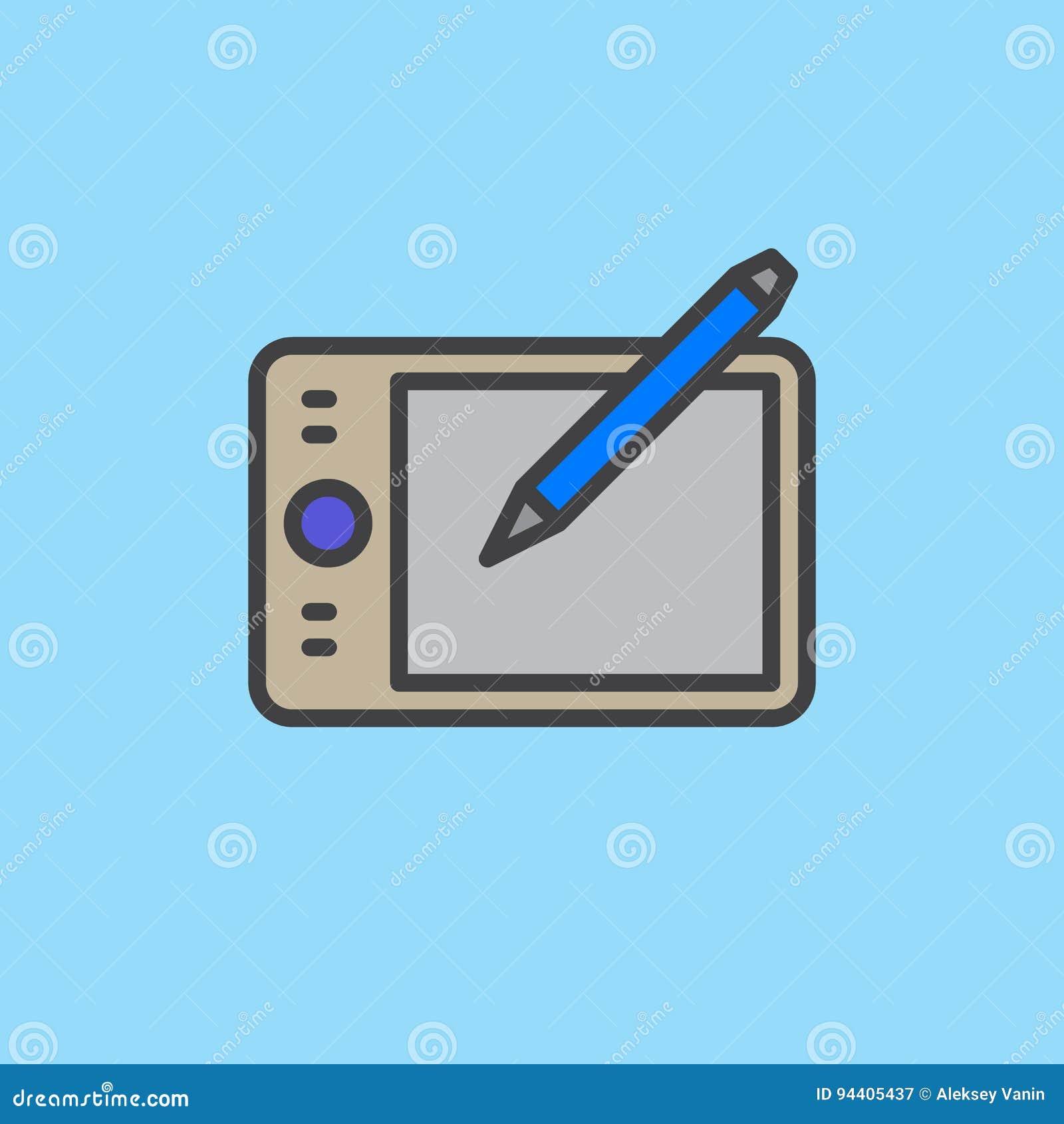Pióro pastylki konturu digitizer wypełniająca ikona