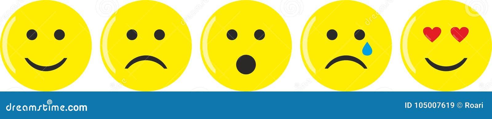 Pięć żółtych emoticons z różnorodnymi nastrojami