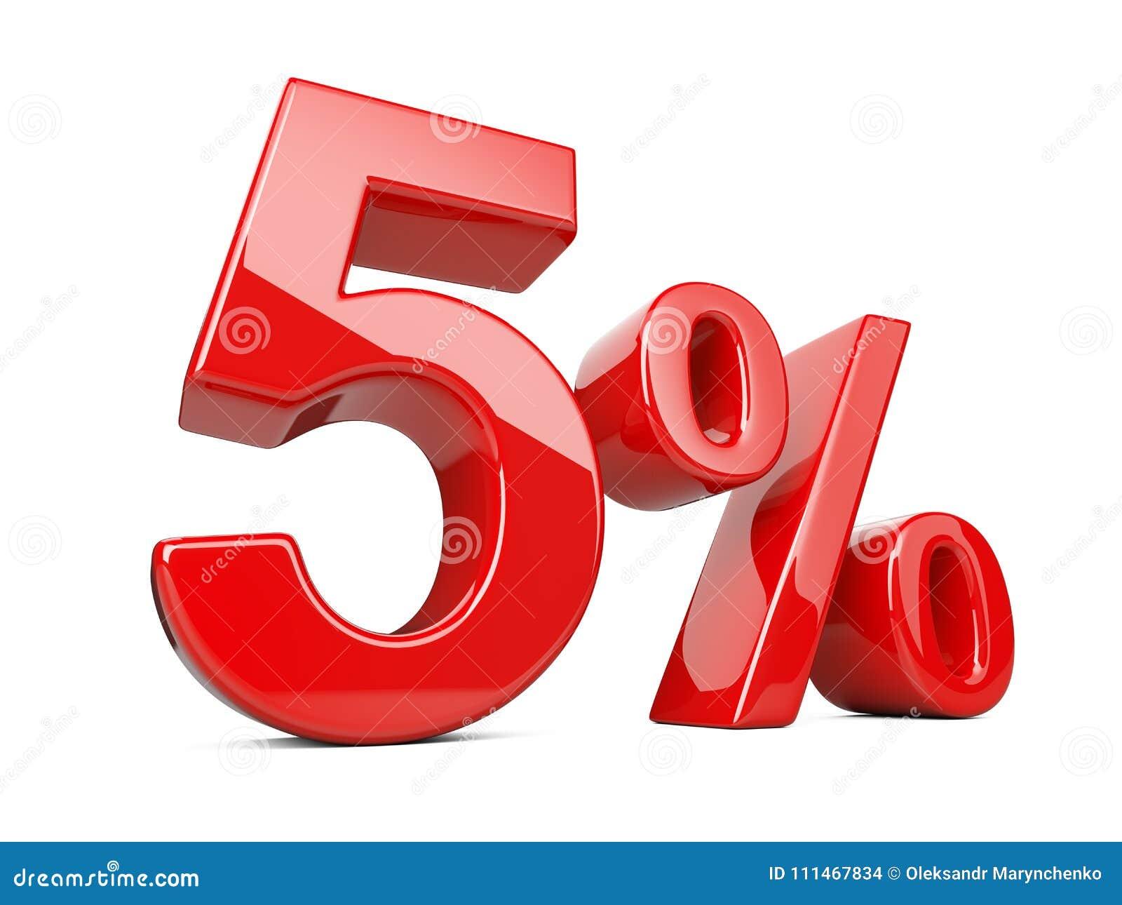 Pięć czerwieni procentu symbol 5  odsetka tempo Specjalnej oferty dyskoteka