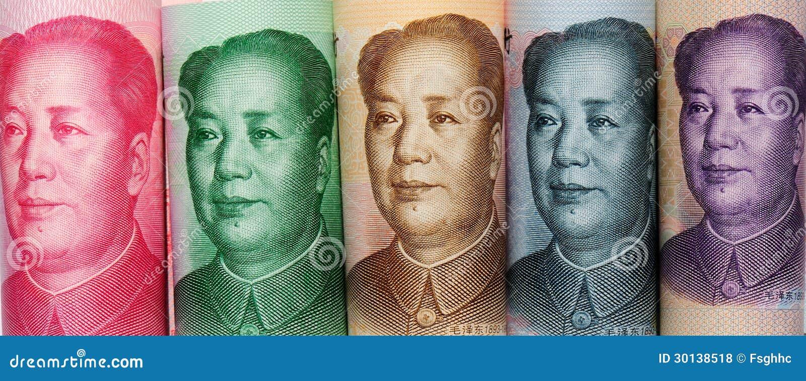 Pięć różna wartość nominalna Chiński papierowy pieniądze