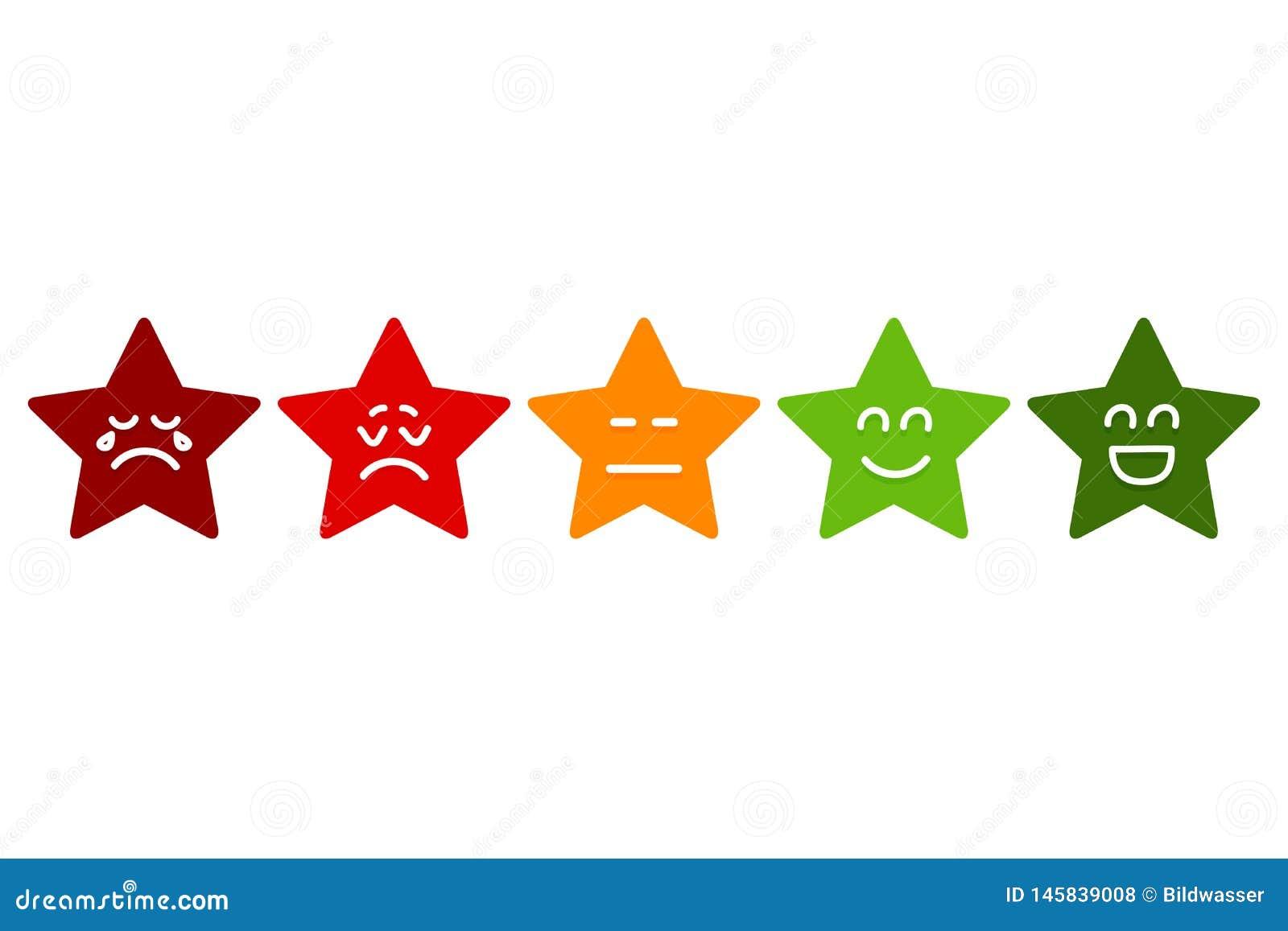 Pięć Smilies gwiazd Oszacowywać Emoticons zaopatruj? wektor