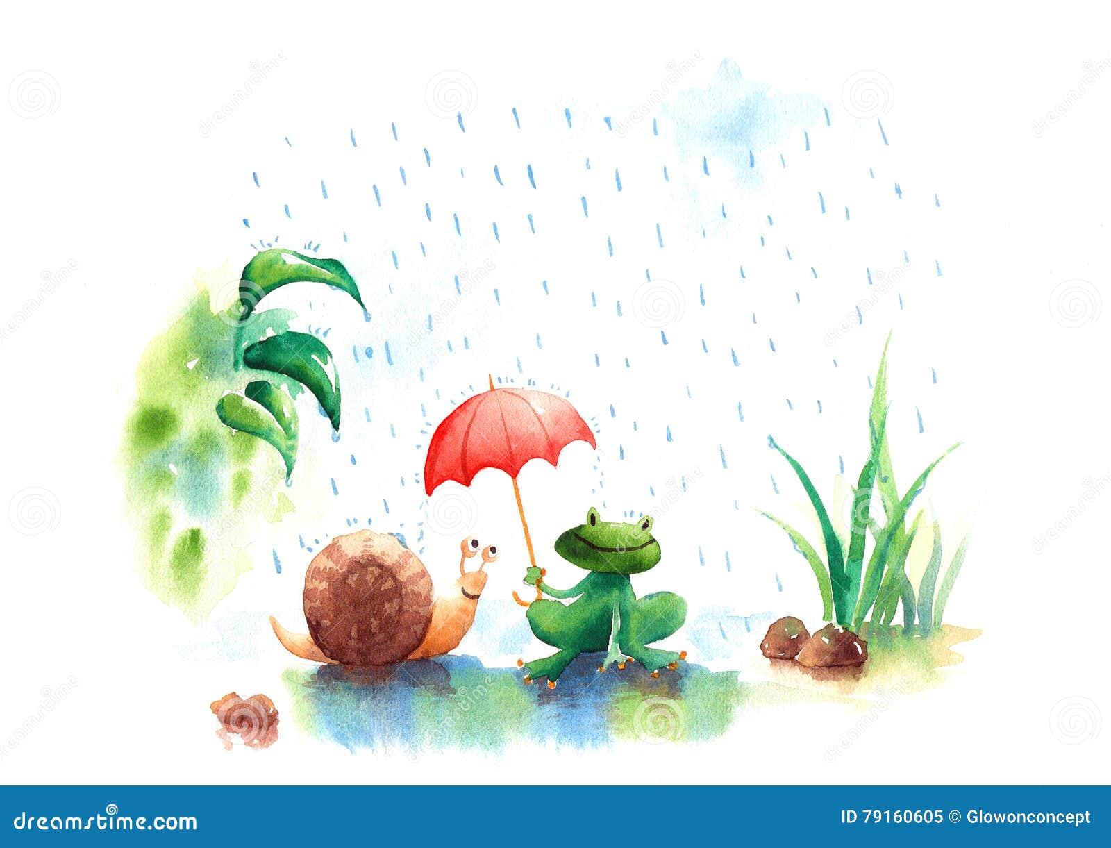 Piękna akwareli ilustracja pora deszczowa ślimaczek i żaba