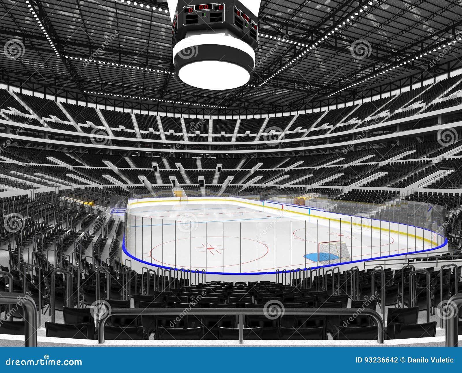 Piękna arena sportowa dla lodowego hokeja z czarnym siedzenia VIP pudełkiem