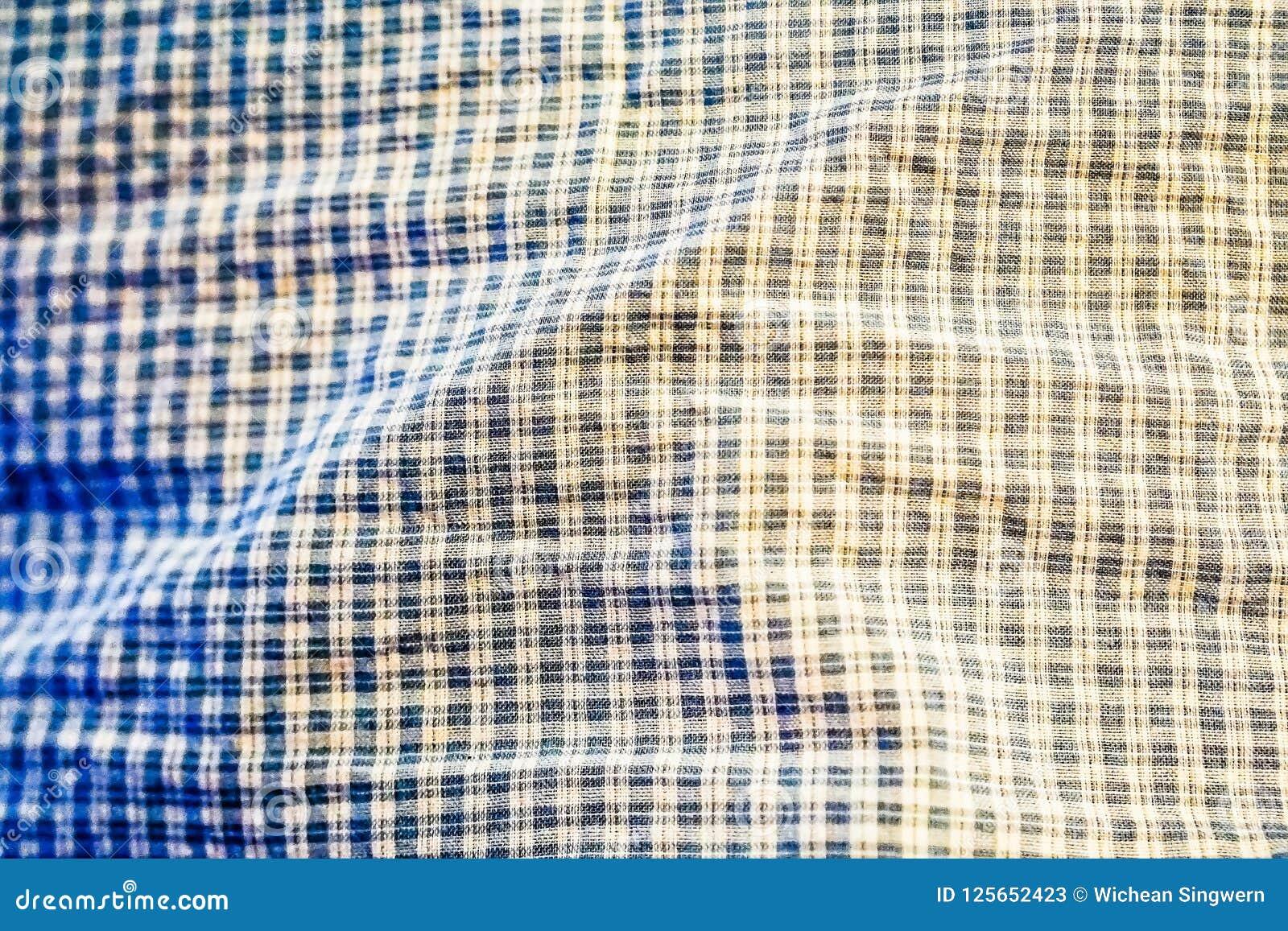 Piękna błękitna tkanina kwadrata lub szkockiej kraty wzór