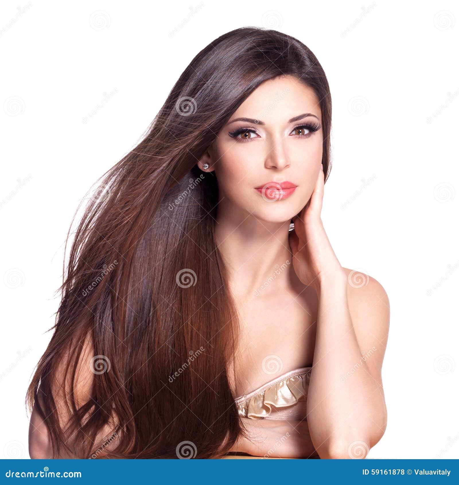 Piękna Biała ładna Kobieta Z Długim Prostym Włosy Zdjęcie