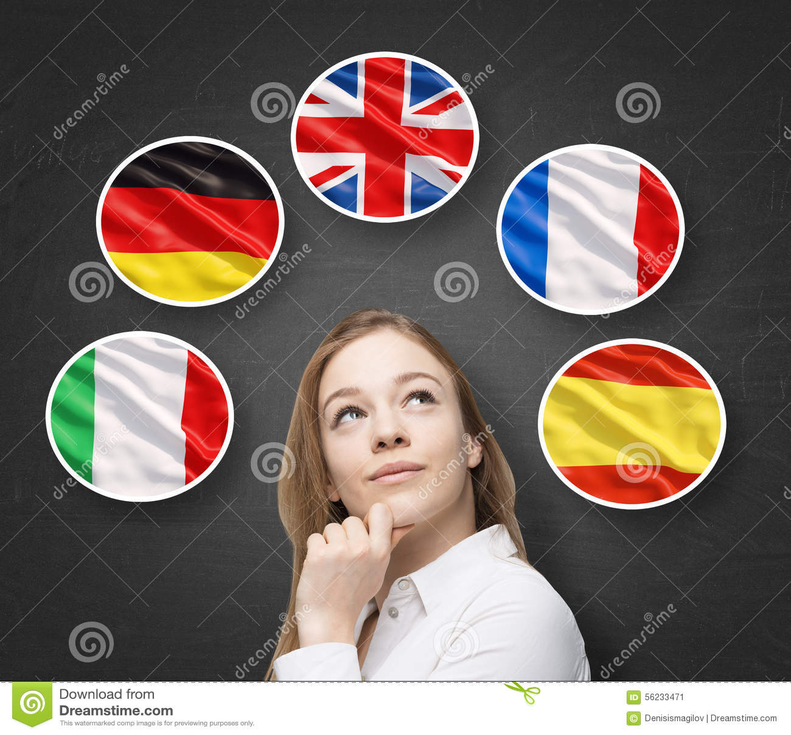 Piękna dama otacza bąblami z kraj europejski flaga włoszczyzna, niemiec (, Wielki Brytania francuz, hiszpańszczyzny,) uczenie
