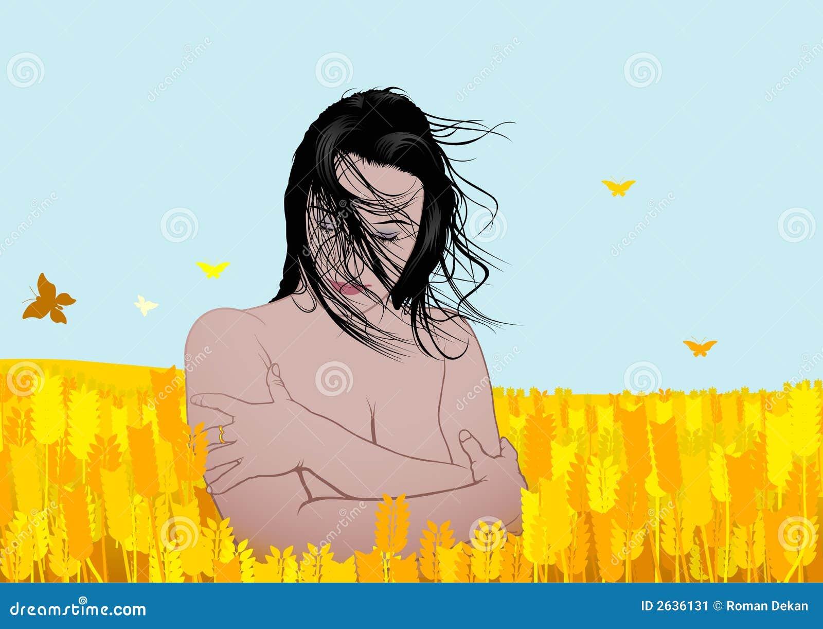Piękna dziewczyna pole