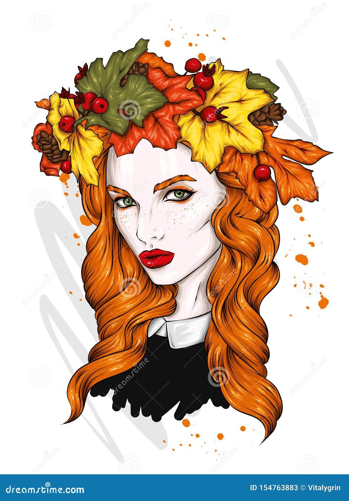 Piękna dziewczyna z długie włosy w wianku jesień liście Duzi oczy i pełne wargi r?wnie? zwr?ci? corel ilustracji wektora