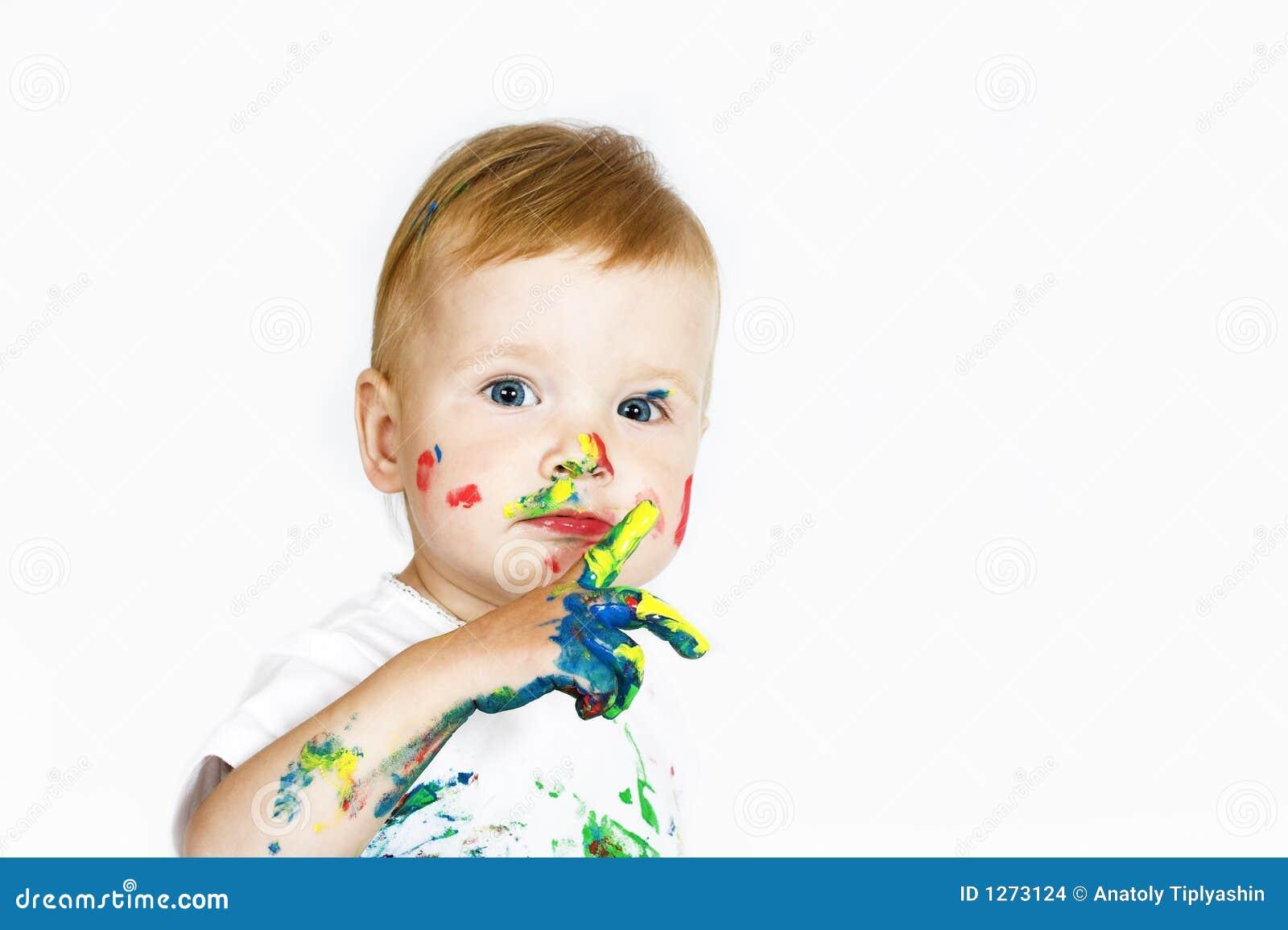 Piękna farb białych dzieci
