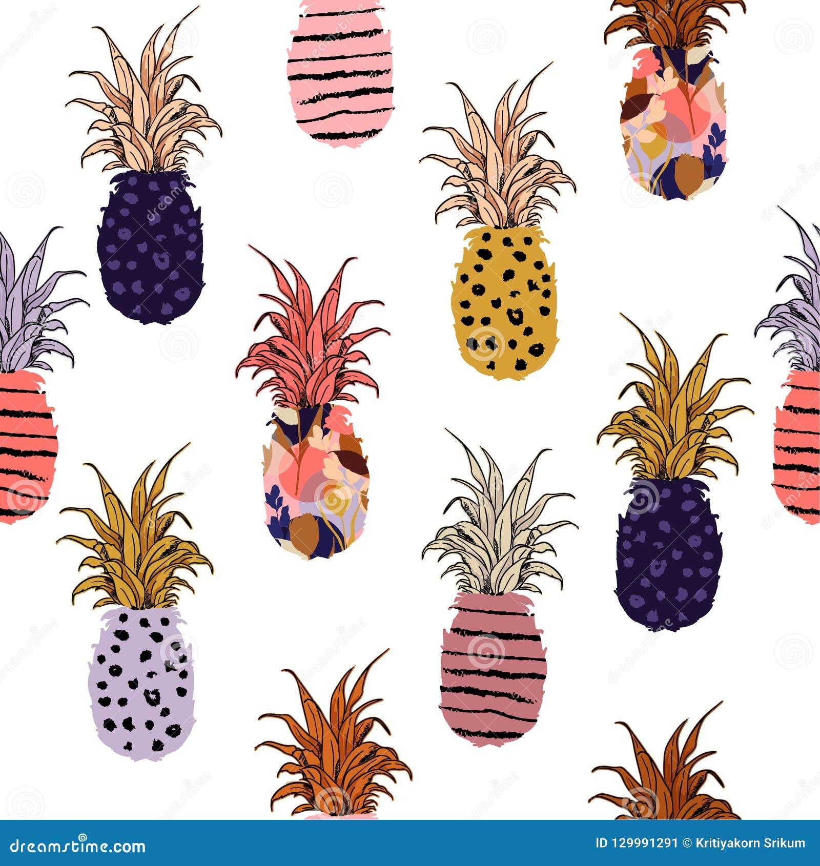 Piękna i śliczna kolorowa ręka rysujący ananas z na brzęczeniach