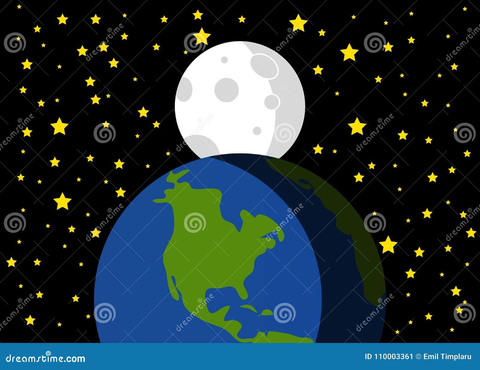 Piękna ilustracja ziemi i księżyc tło
