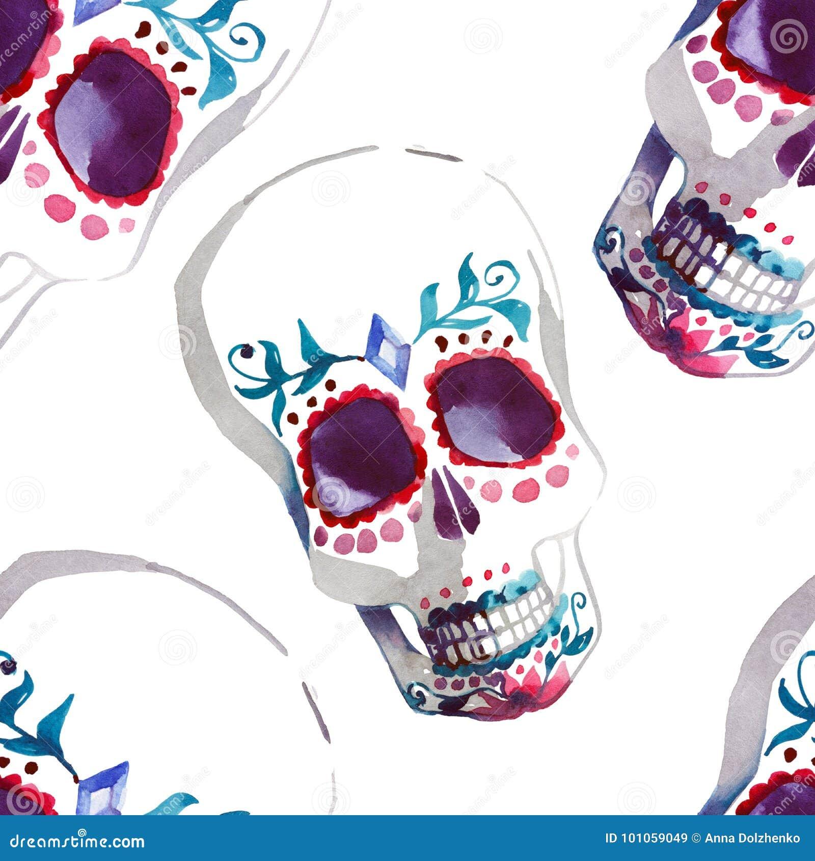 Piękna jaskrawa cudowna graficzna artystyczna abstrakcjonistyczna śliczna Halloween czaszek akwareli ręki elegancka ilustracja