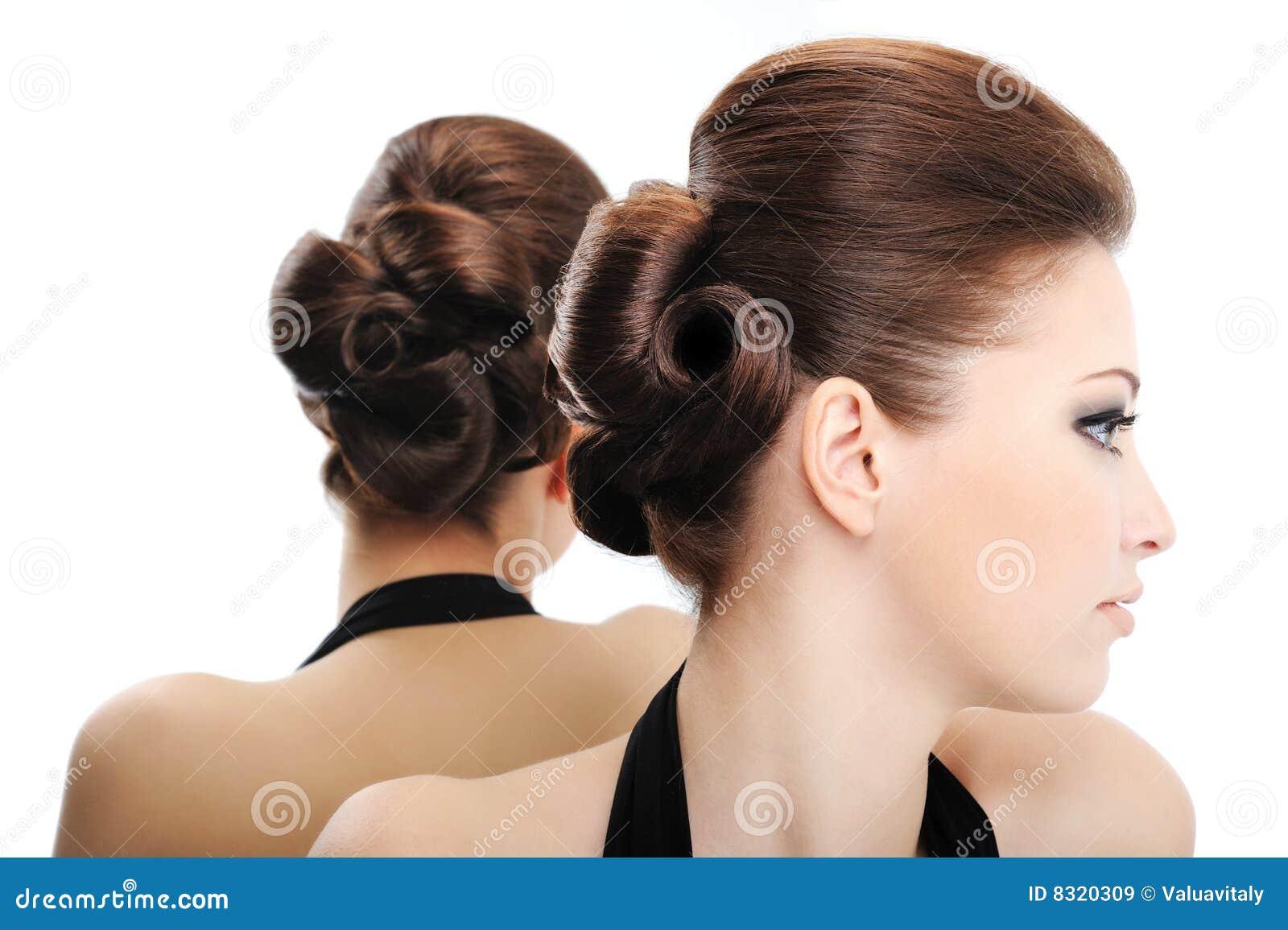Piękna Kędzierzawy Fryzury Profilu Widok Obraz Stock Obraz